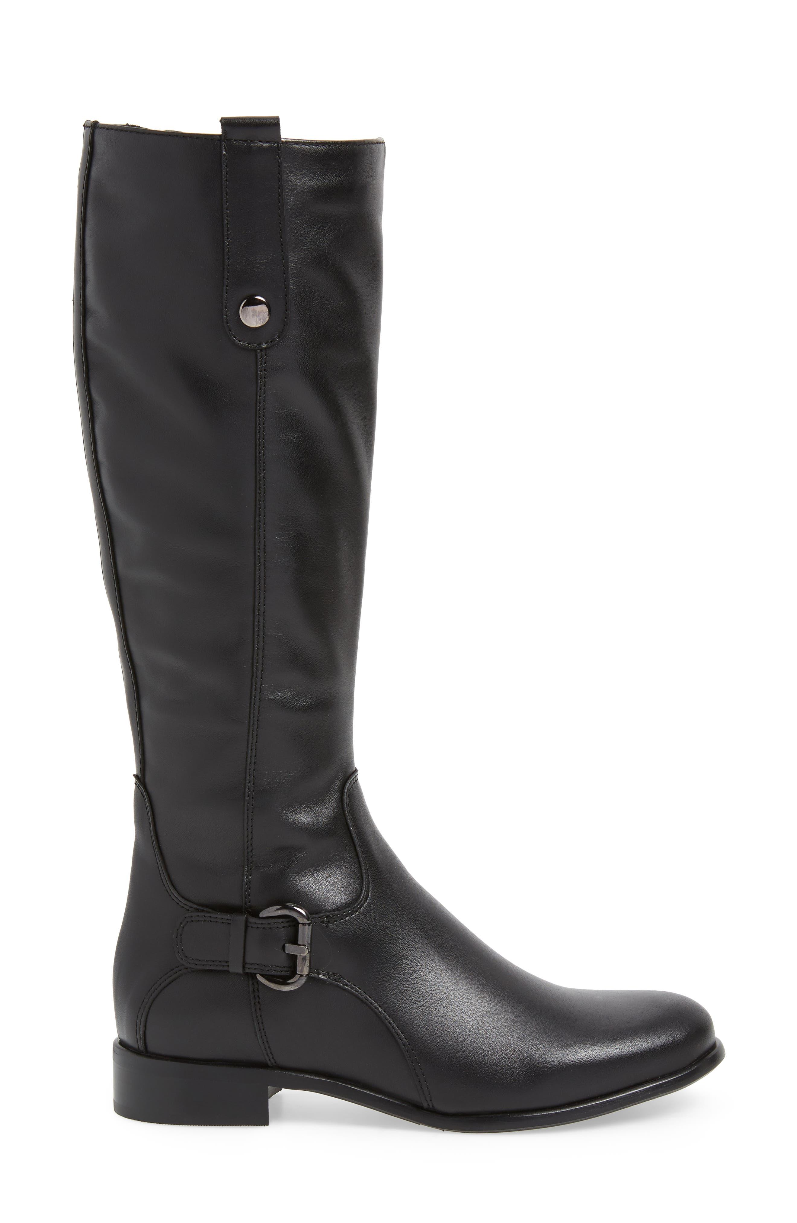 'Stefanie' Waterproof Boot,                             Alternate thumbnail 4, color,                             BLACK LEATHER