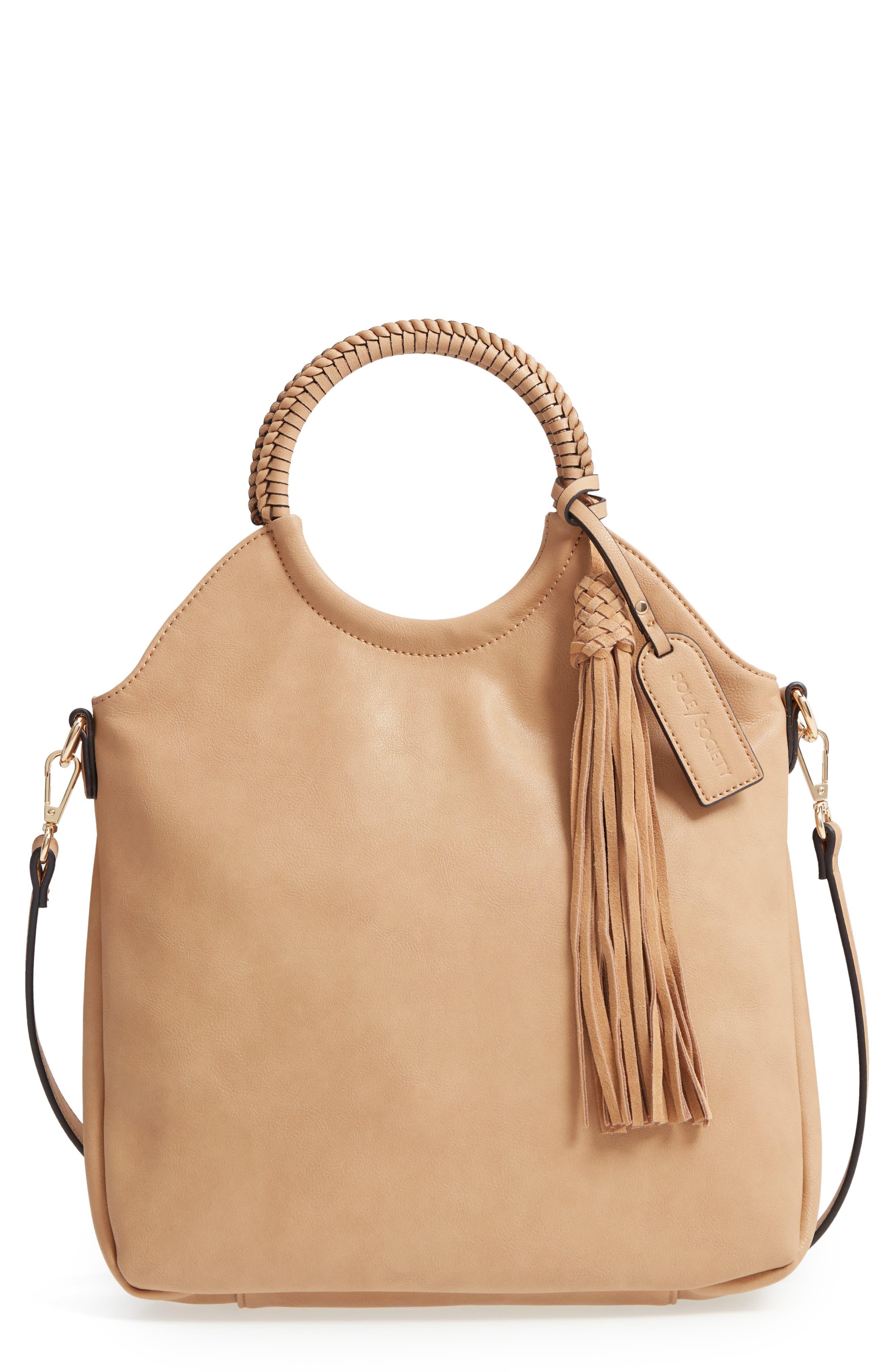 Faux Leather Bracelet Bag,                             Main thumbnail 1, color,                             SAFARI