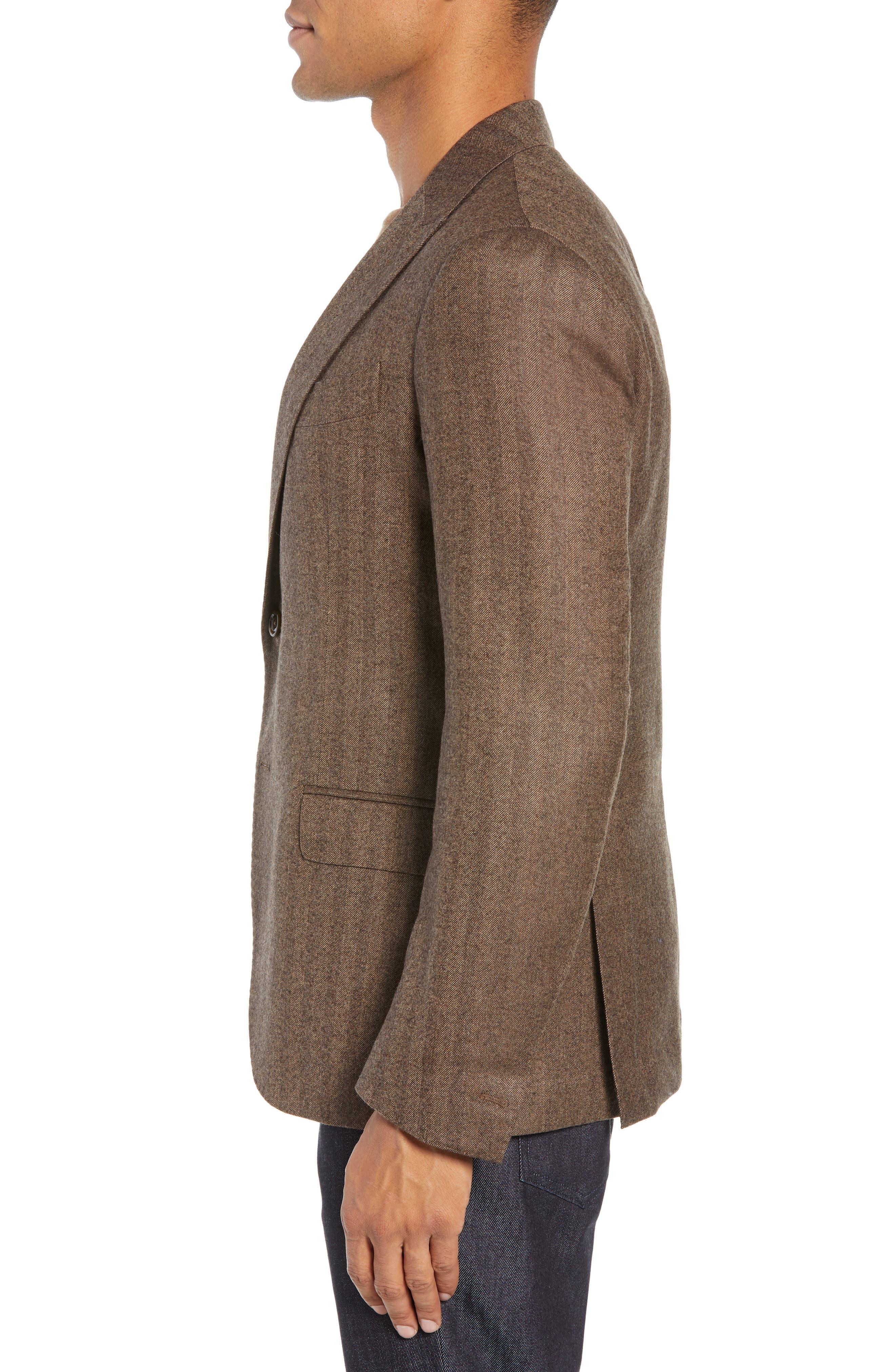 Trim Fit Herringbone Wool Sport Coat,                             Alternate thumbnail 3, color,                             BROWN