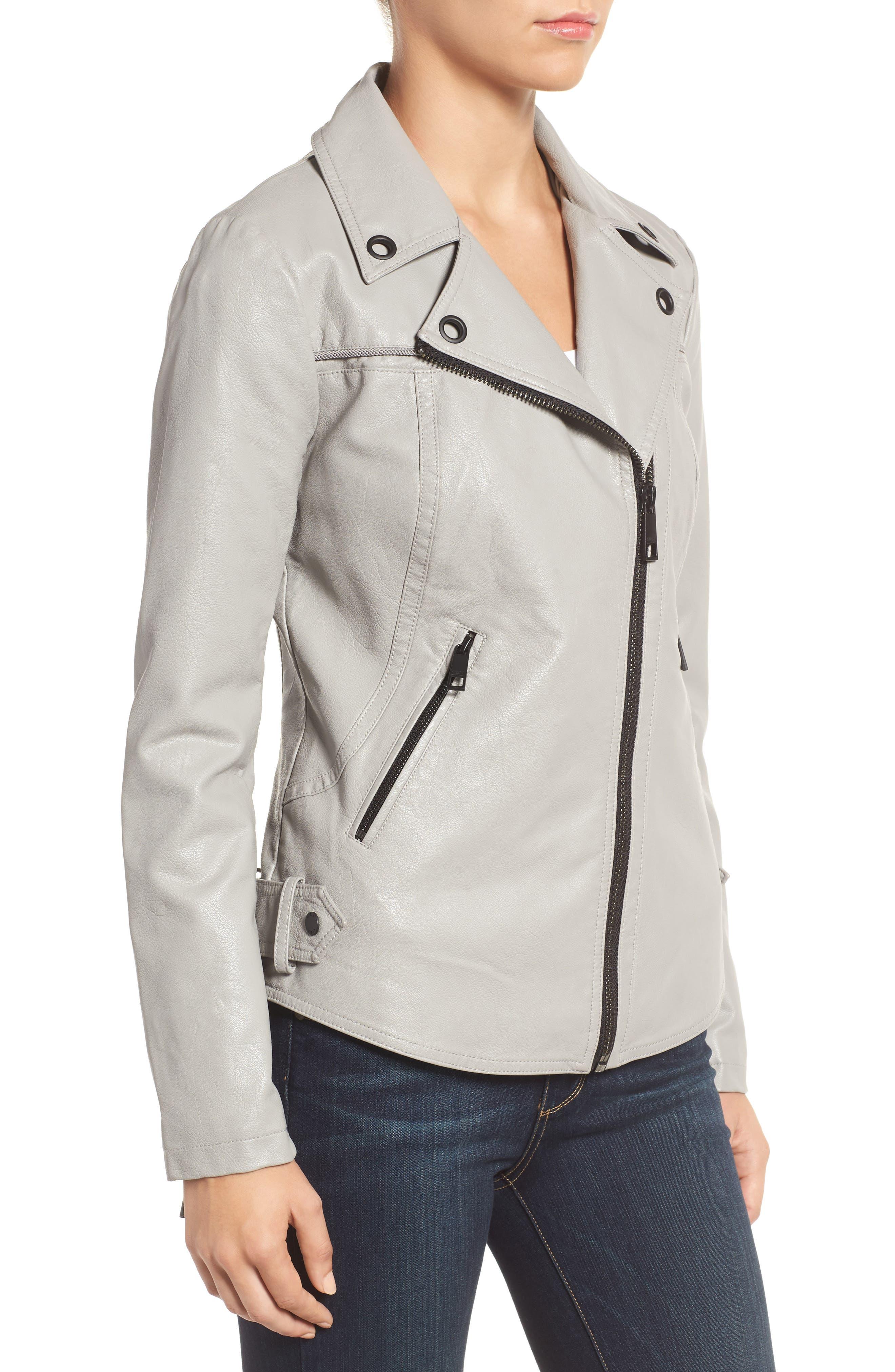 Faux Leather Moto Jacket,                             Alternate thumbnail 8, color,