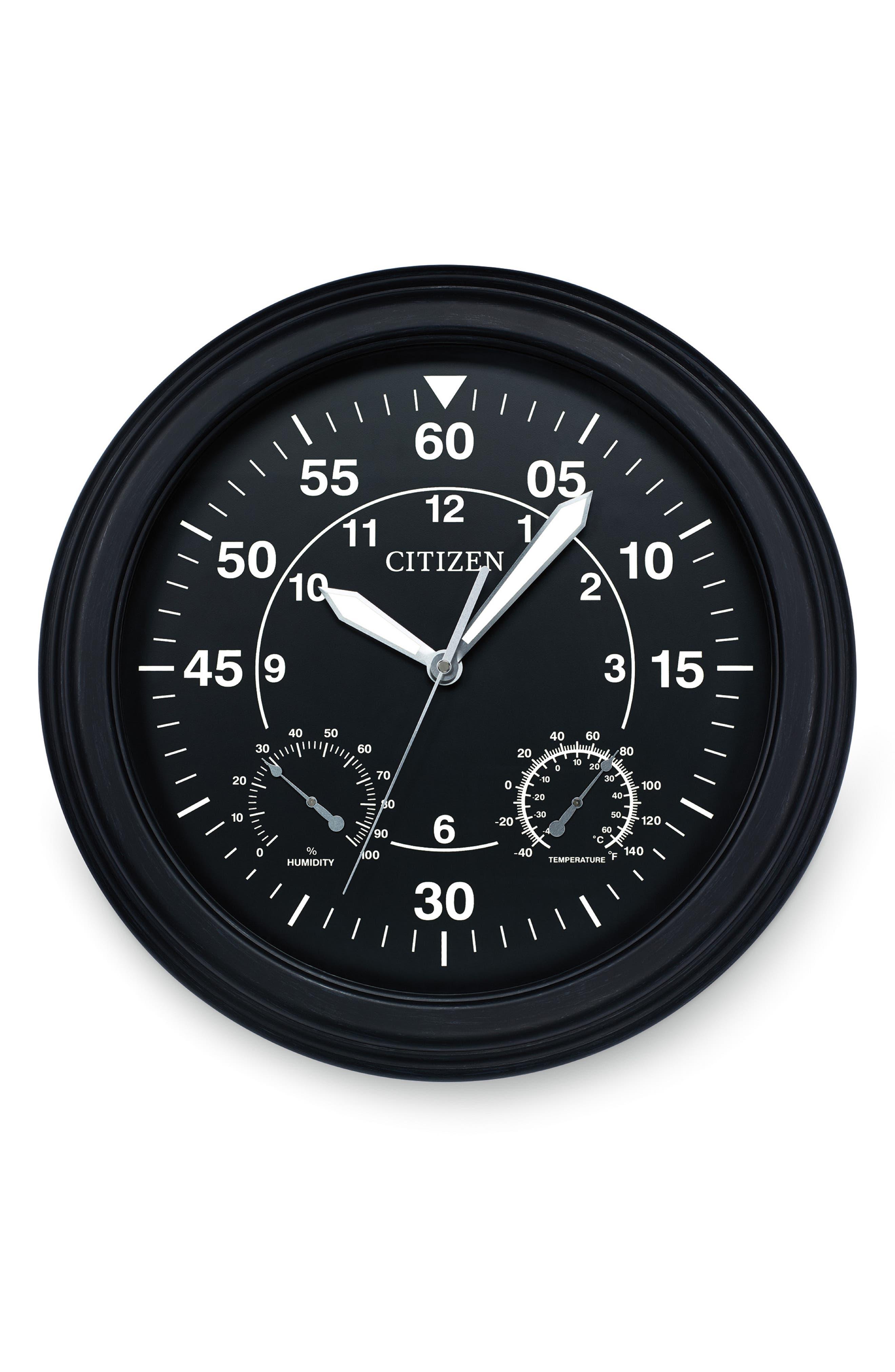 Outdoor Wall Clock,                         Main,                         color, BLACK