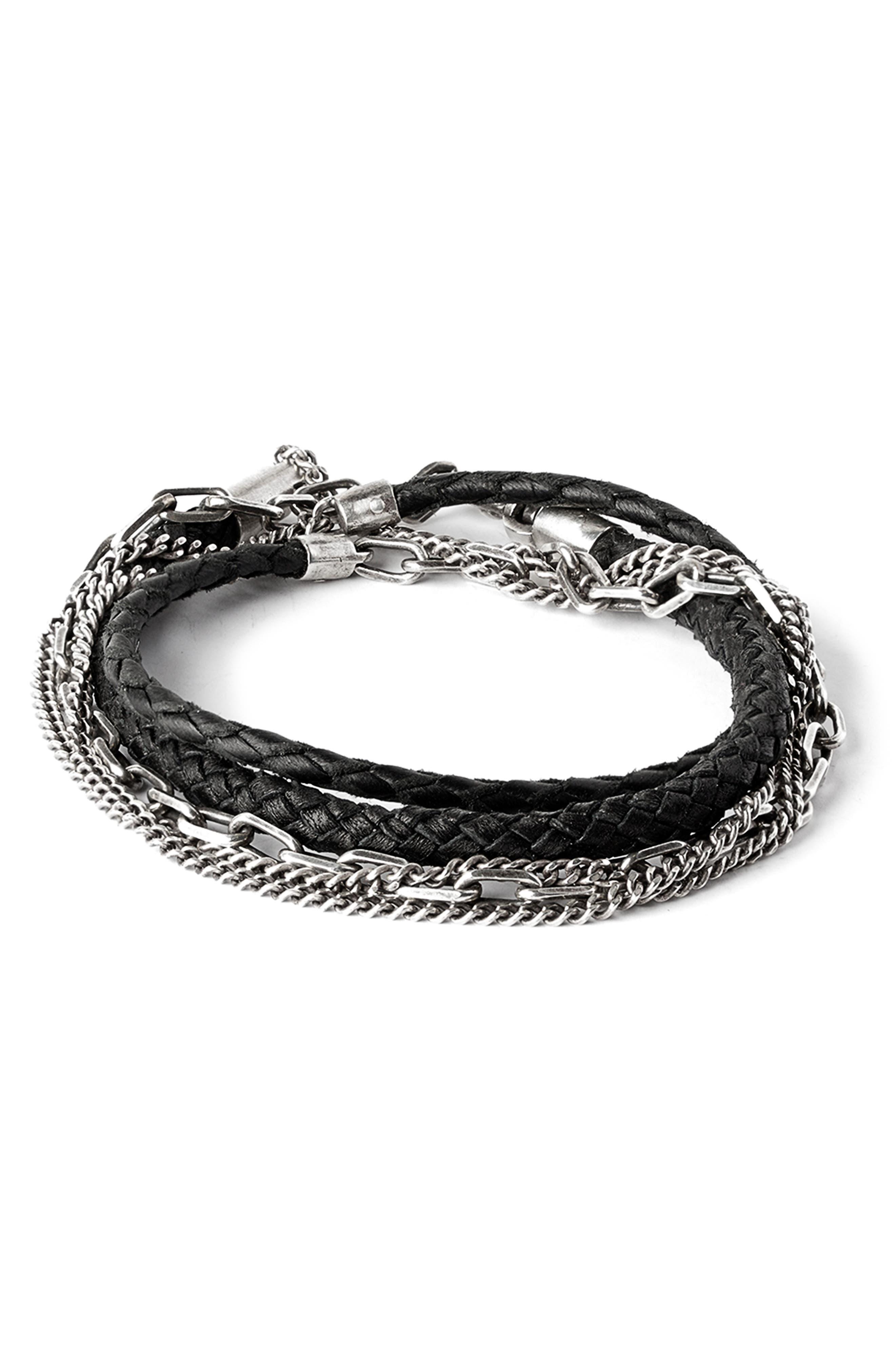 Braided Leather & Chain Multi Wrap Bracelet,                             Main thumbnail 1, color,                             001