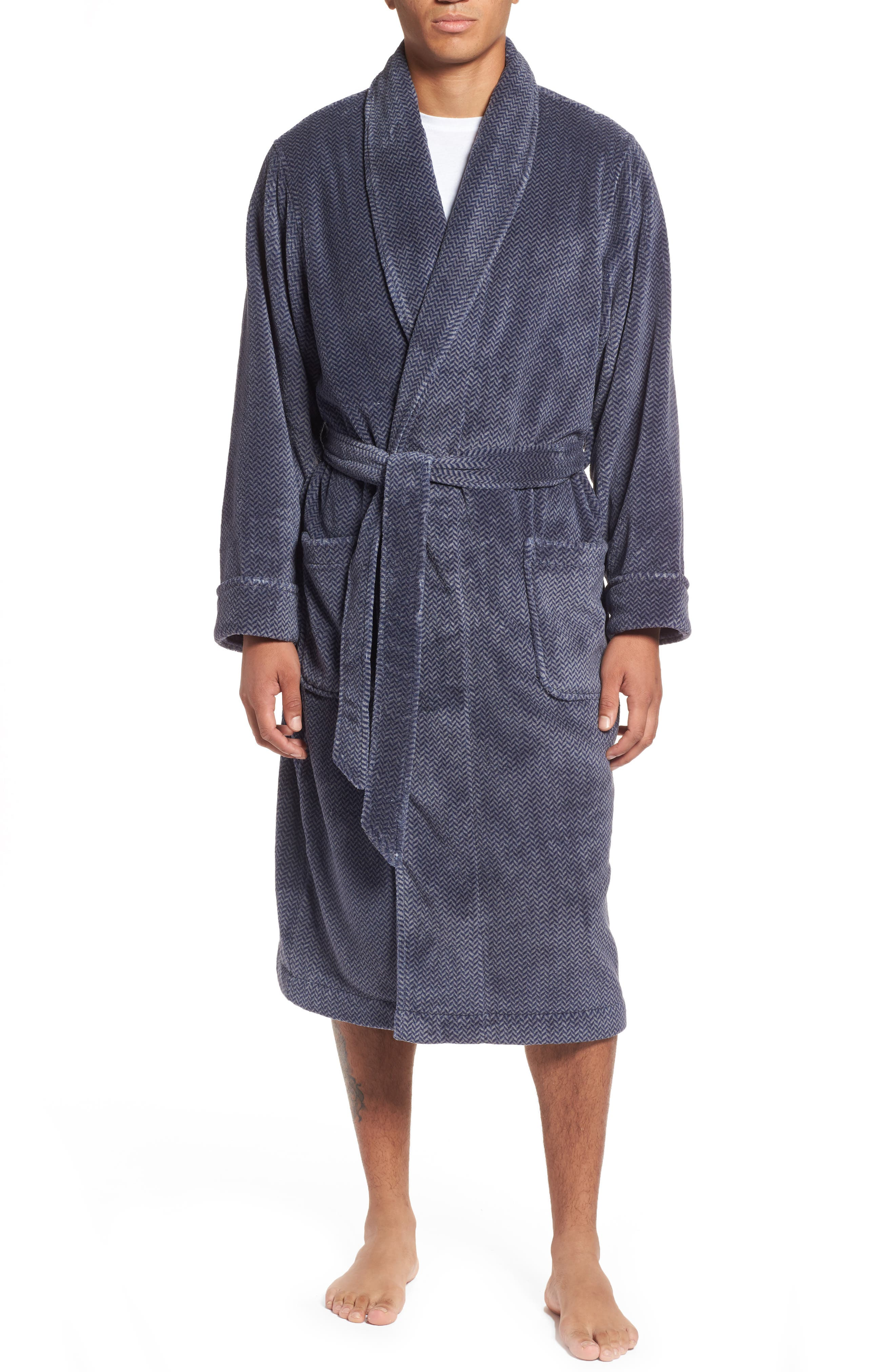 Herringbone Fleece Robe,                         Main,                         color, NAVY INDIGO- GREY HERRINGBONE