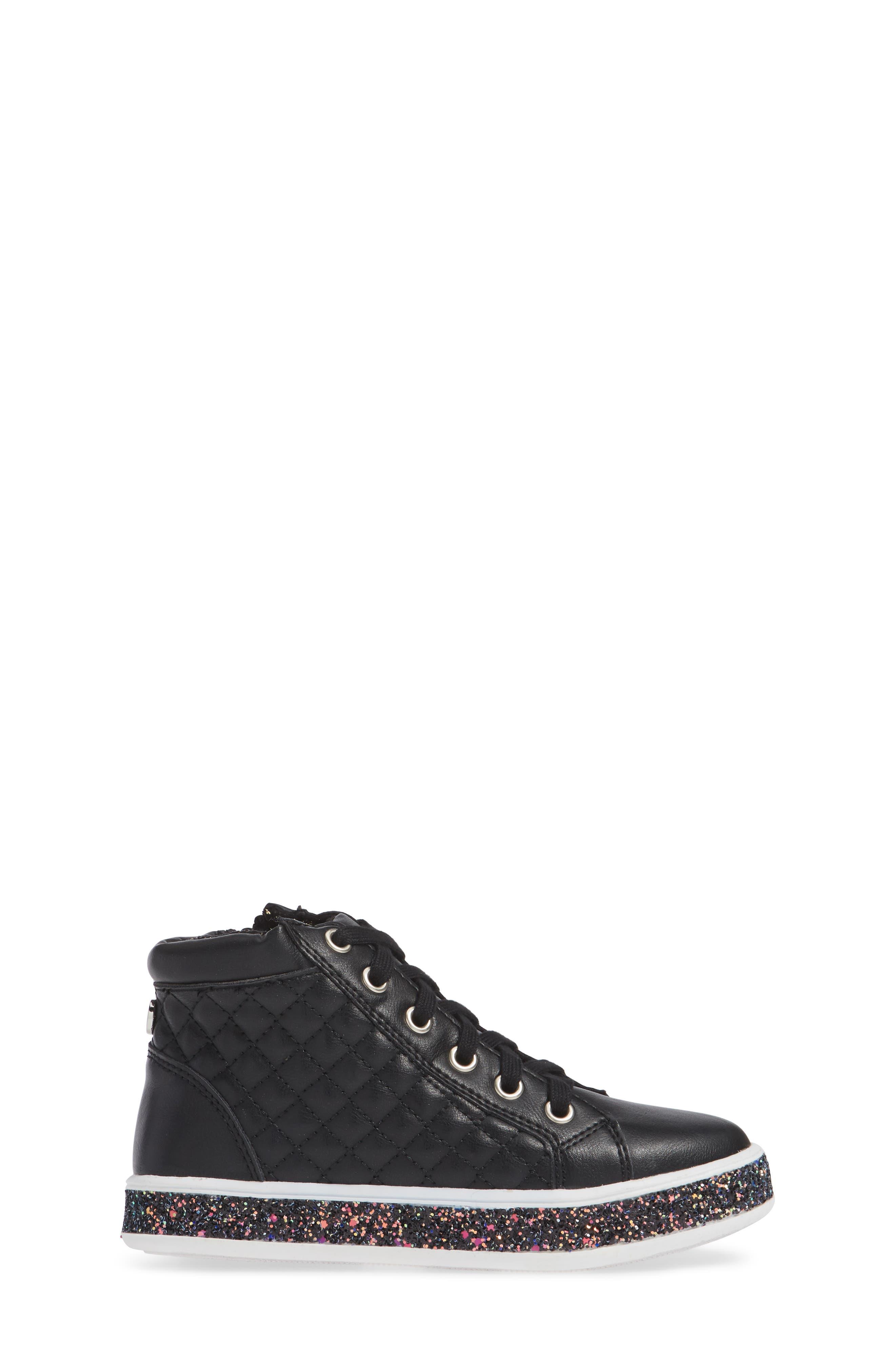 Glittery High Top Sneaker,                             Alternate thumbnail 3, color,                             BLACK