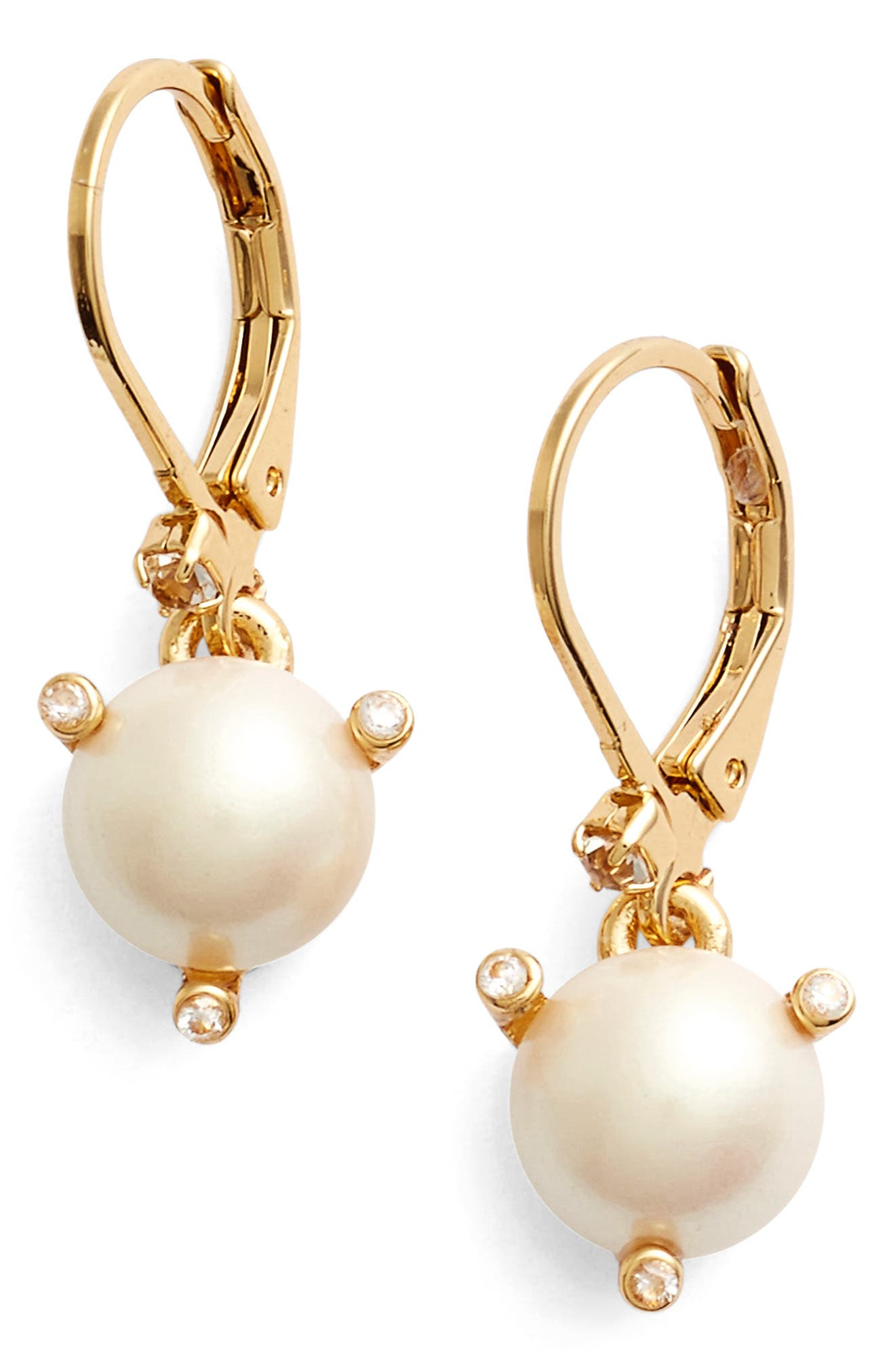 'rise and shine' faux pearl lever back earrings,                             Main thumbnail 1, color,                             900
