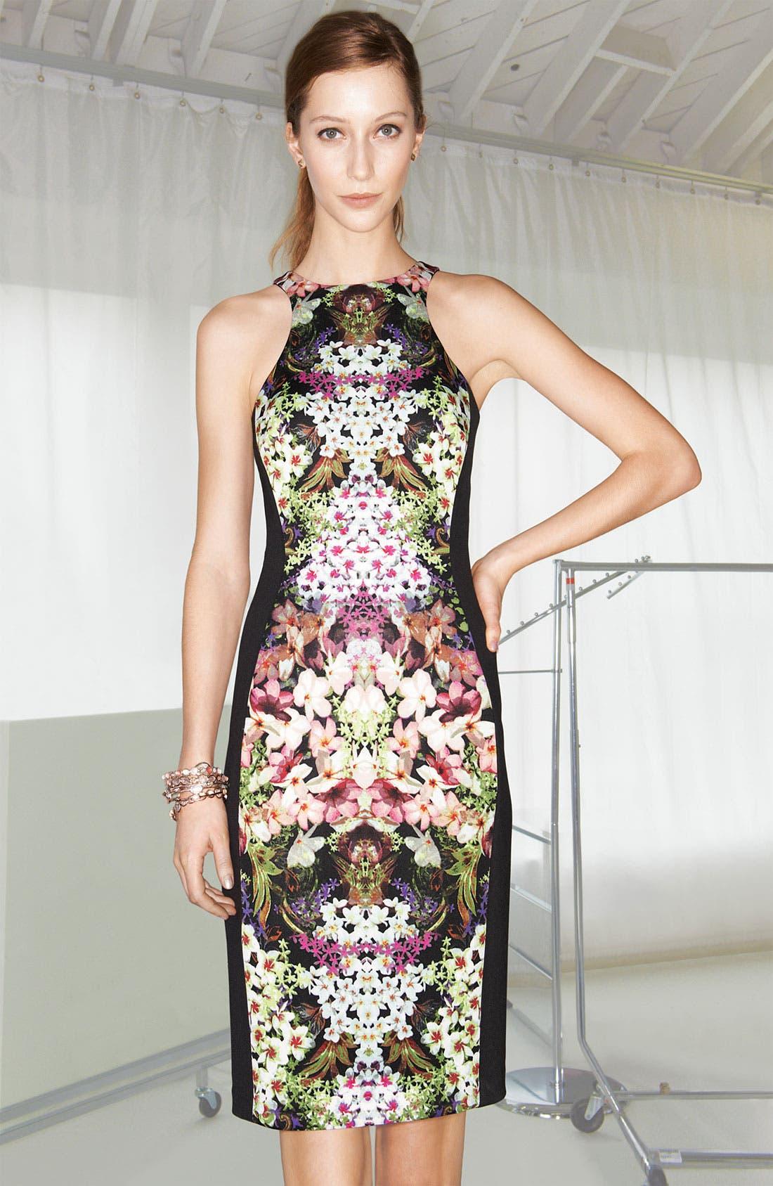 Print Sheath Dress,                             Alternate thumbnail 4, color,                             013