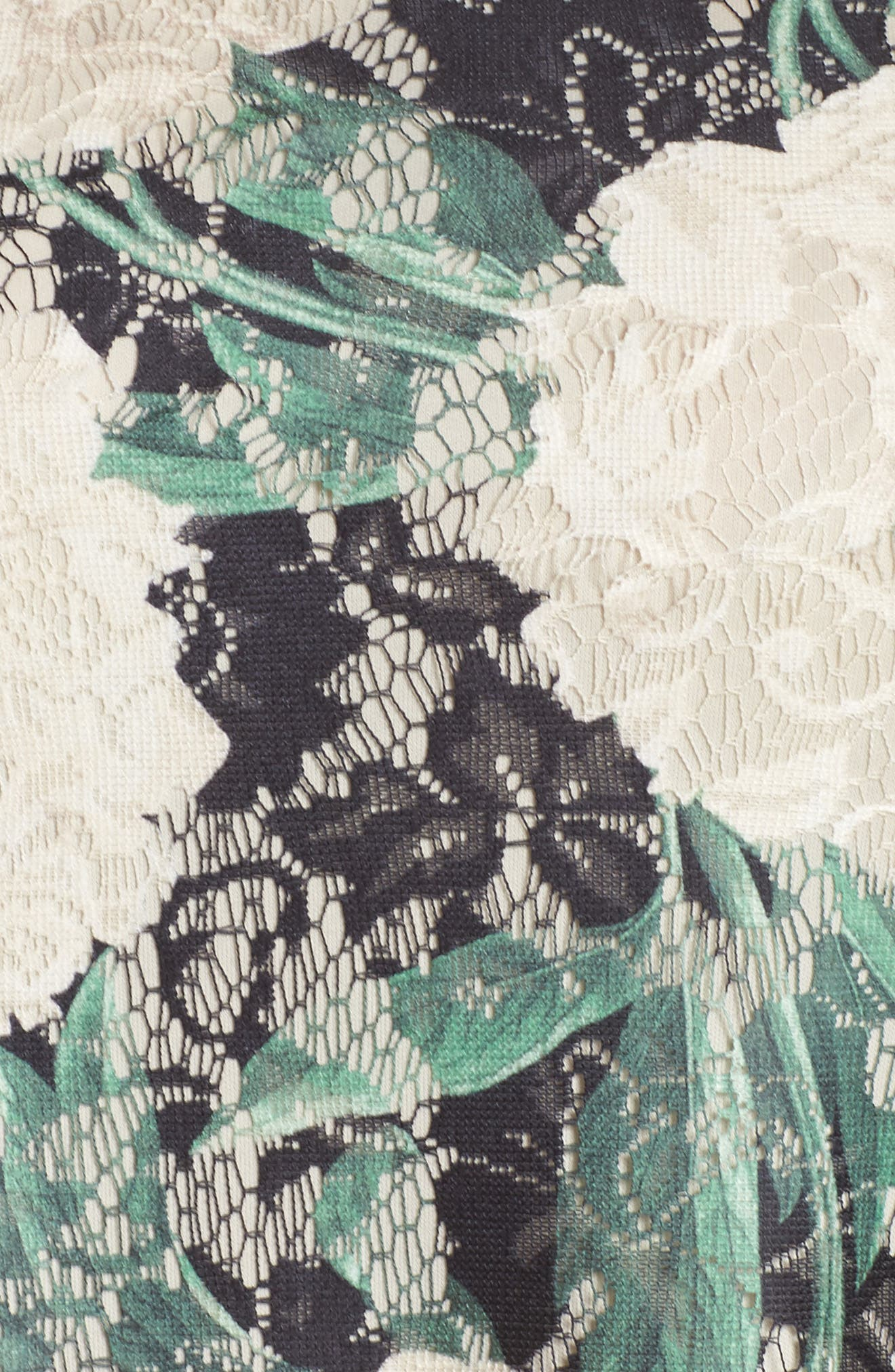 Print Lace Trapeze Dress,                             Alternate thumbnail 5, color,                             001