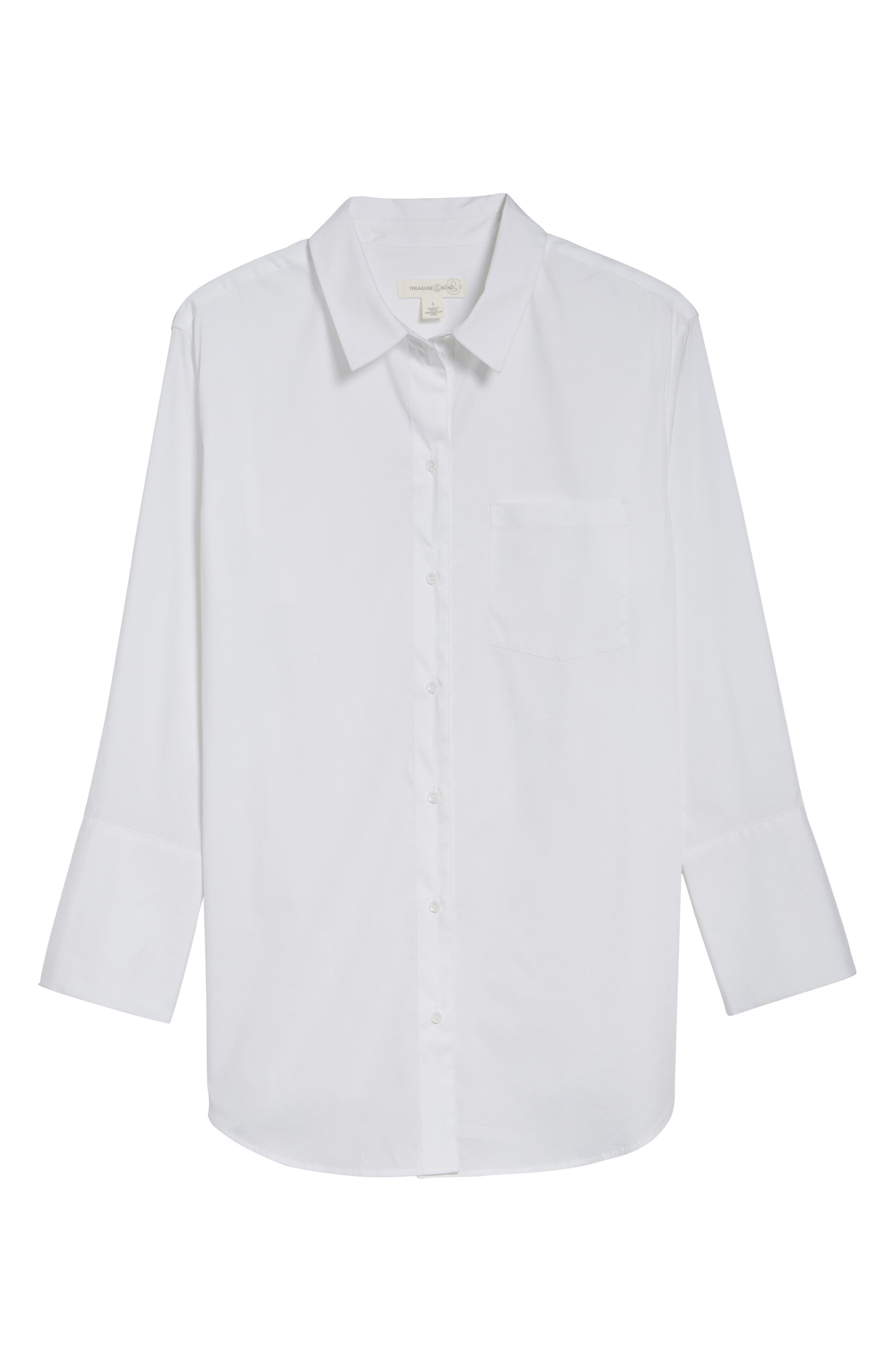 Loose Sleeve Poplin Tunic Shirt,                             Alternate thumbnail 6, color,
