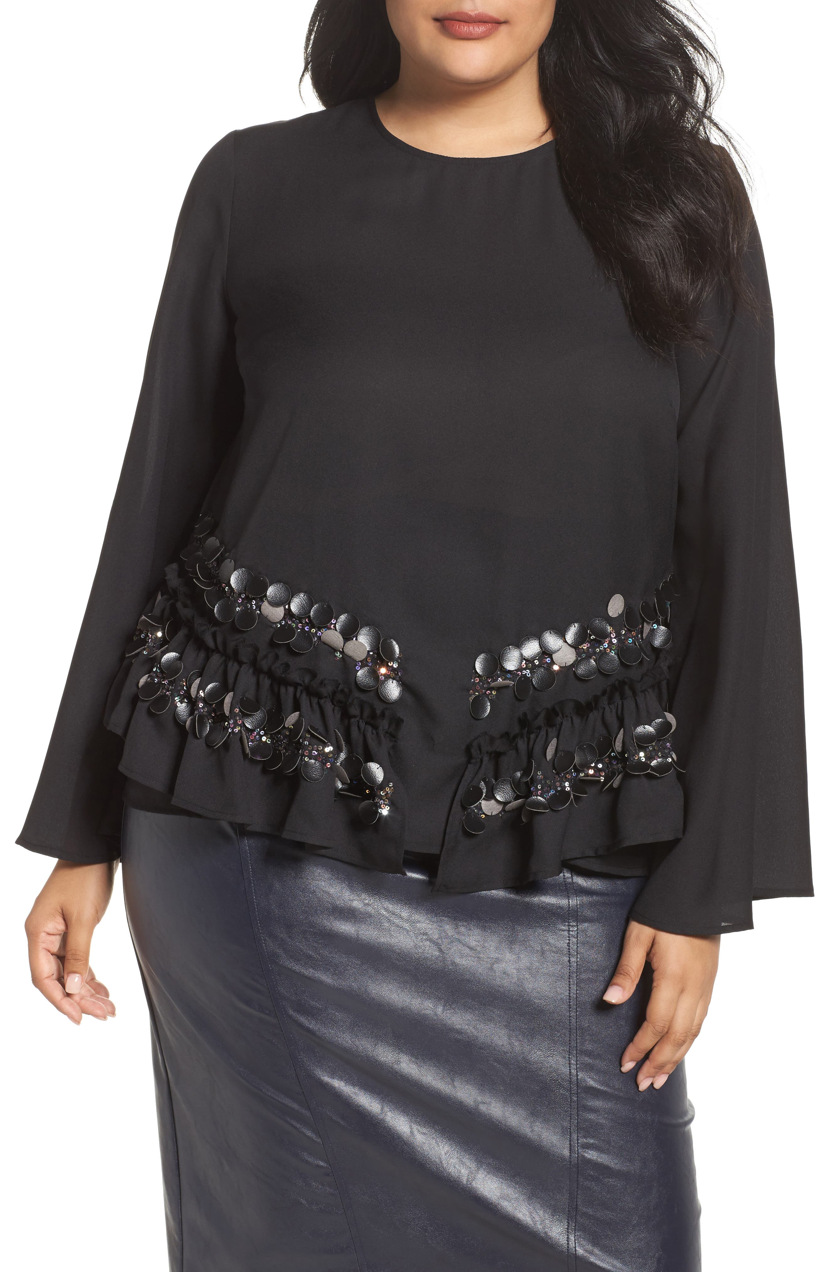 LOST INK,                             Sequin Ruffle Swing Top,                             Main thumbnail 1, color,                             001