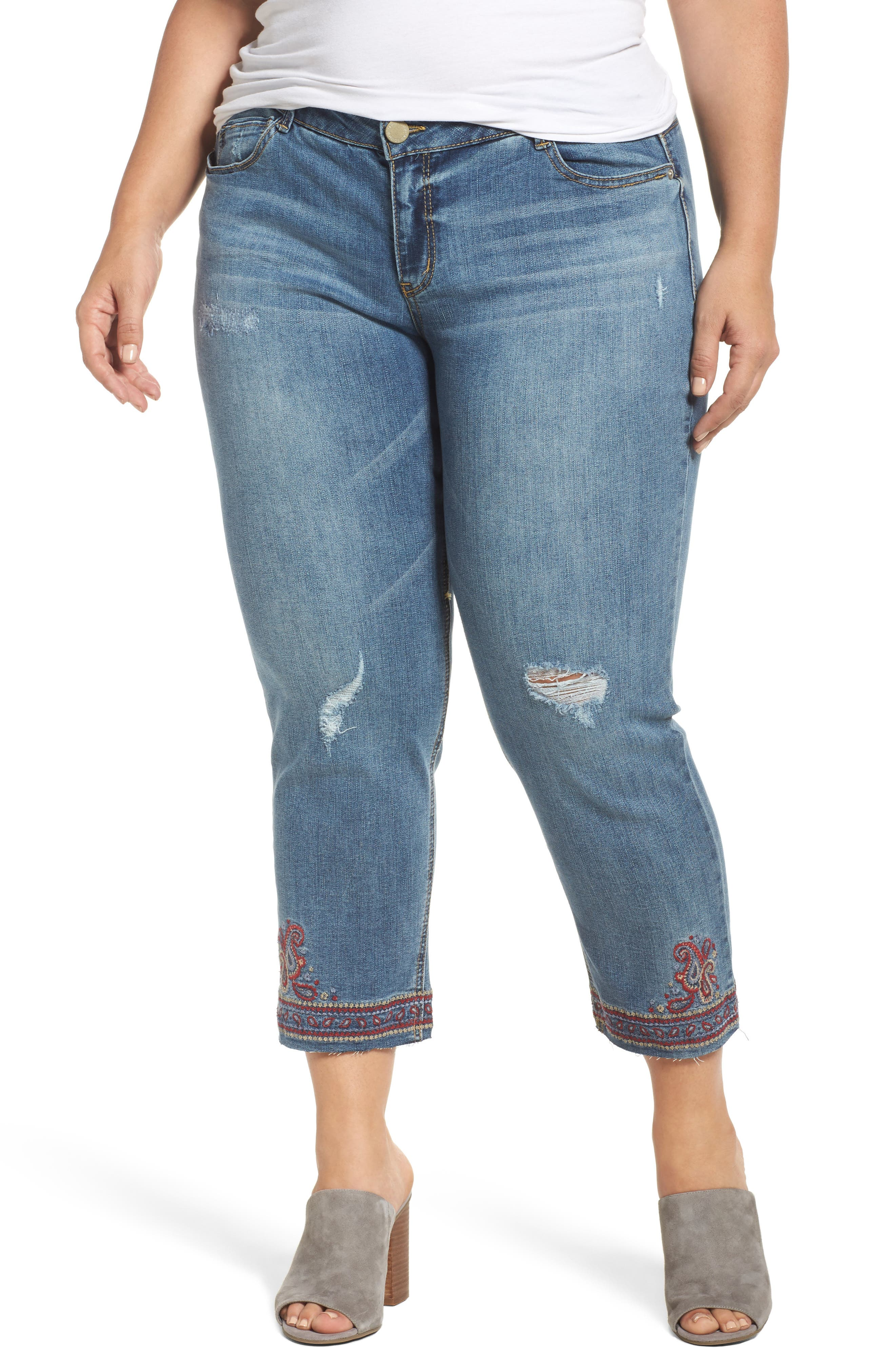 Embroidered Slim Straight Ankle Jeans,                         Main,                         color,