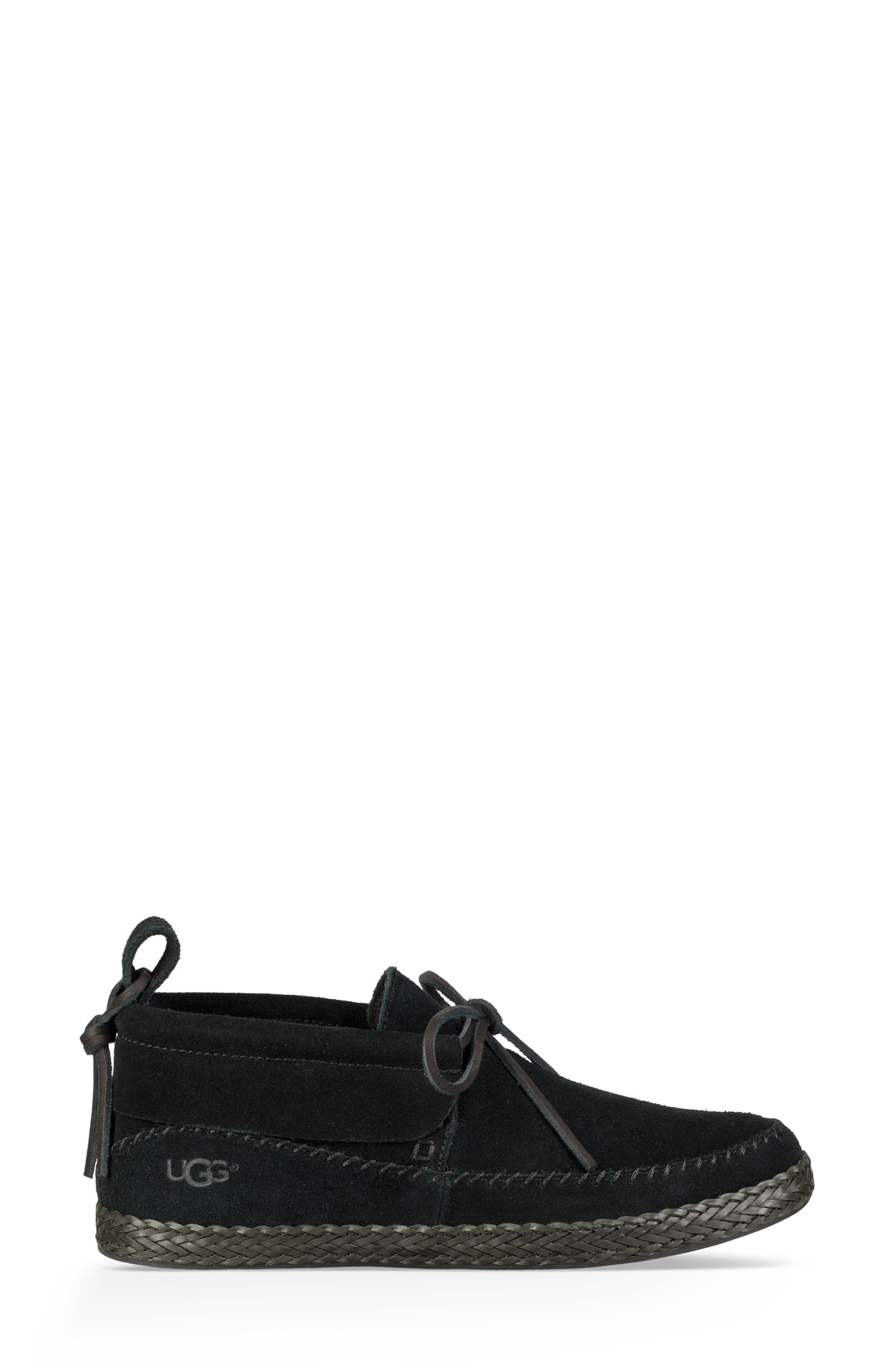 Woodlyn Moc Toe Bootie,                             Alternate thumbnail 3, color,                             BLACK LEATHER
