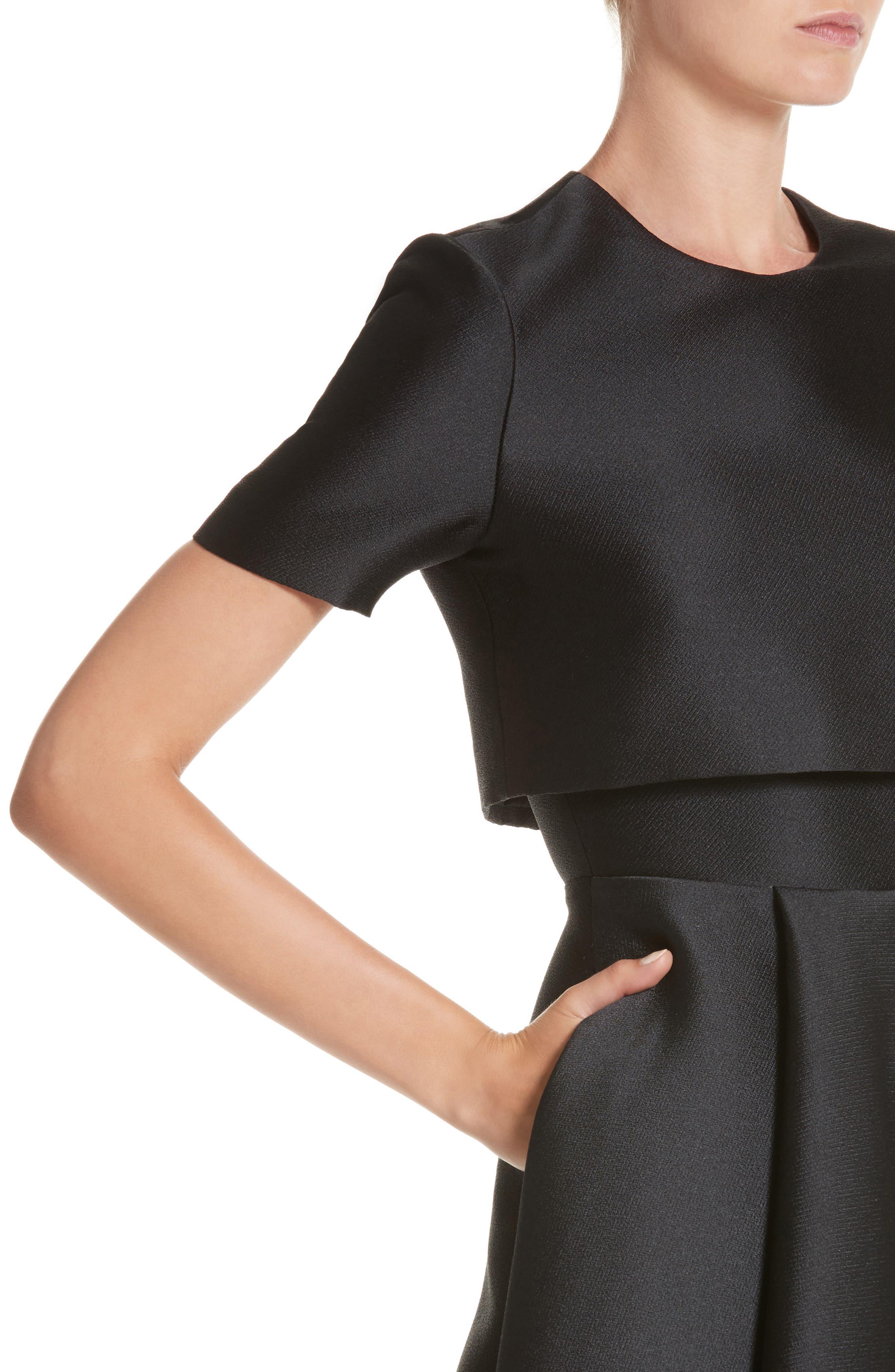 Popover Fit & Flare Dress,                             Alternate thumbnail 4, color,                             001