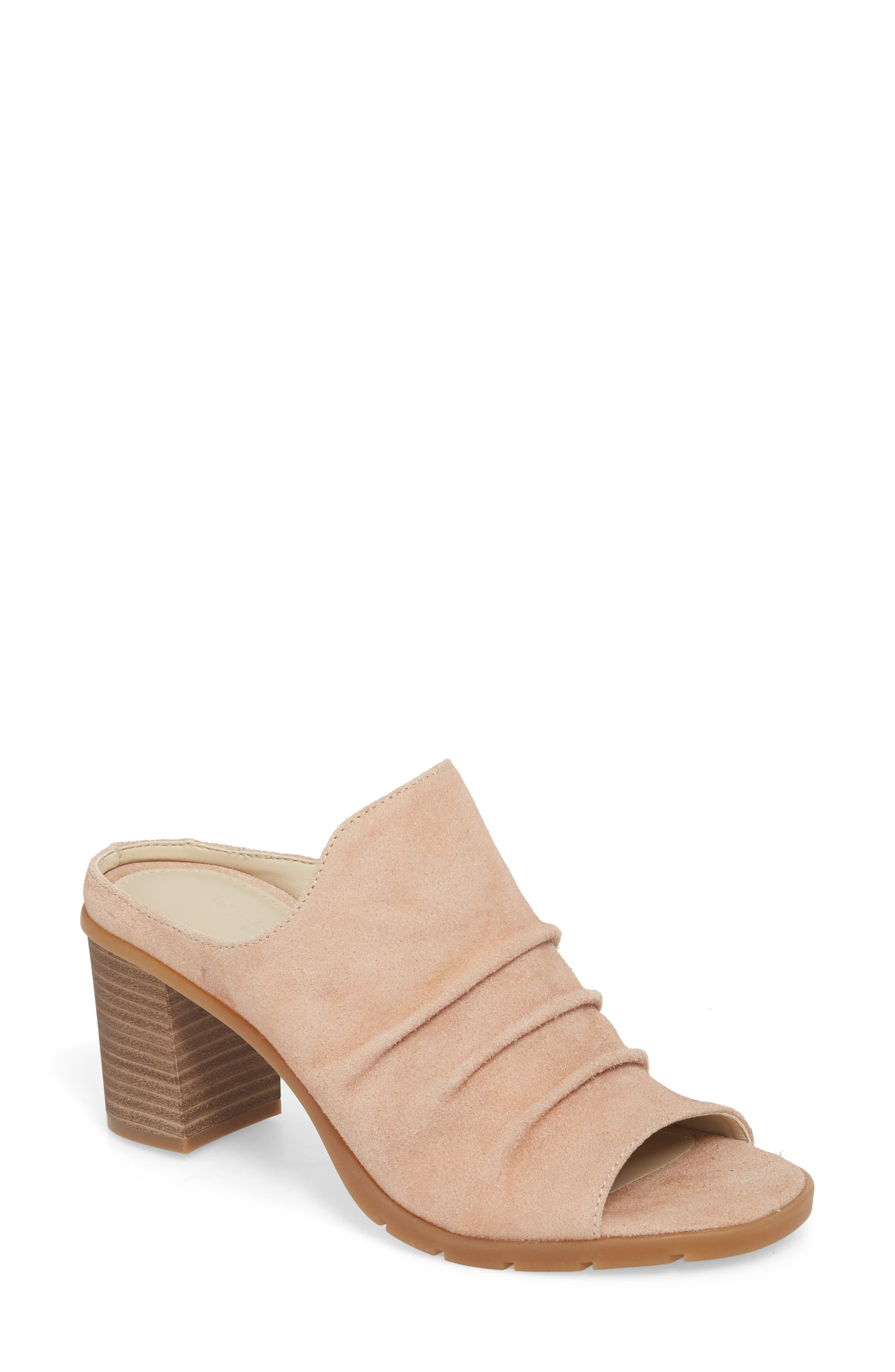 Aim to Pleat Mule,                             Main thumbnail 1, color,                             ROSE GOLD LEATHER