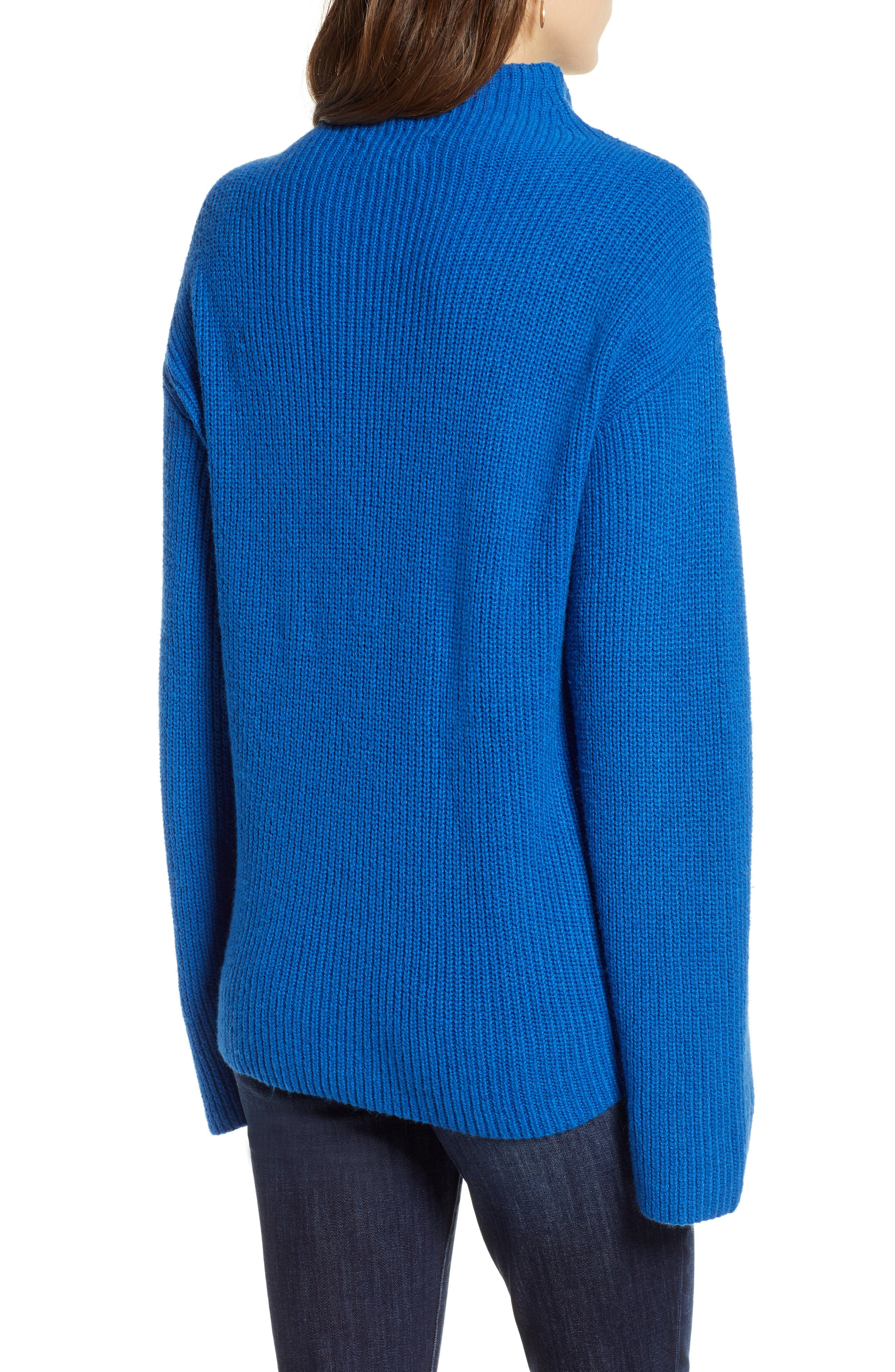 Ribbed Funnel Neck Sweater,                             Alternate thumbnail 2, color,                             BLUE CLASSICS