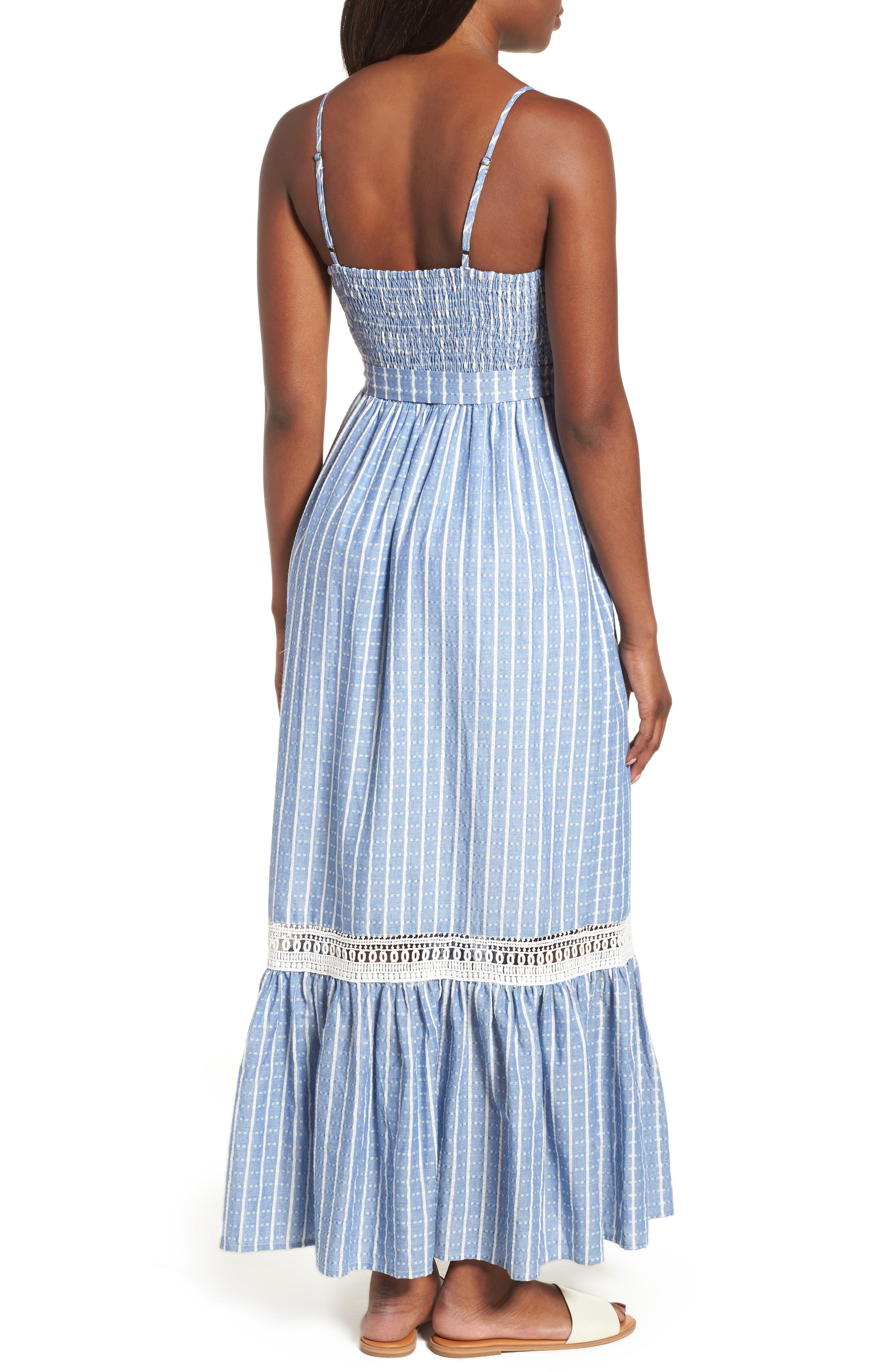 Tie Waist Cotton Maxi Dress,                             Alternate thumbnail 7, color,