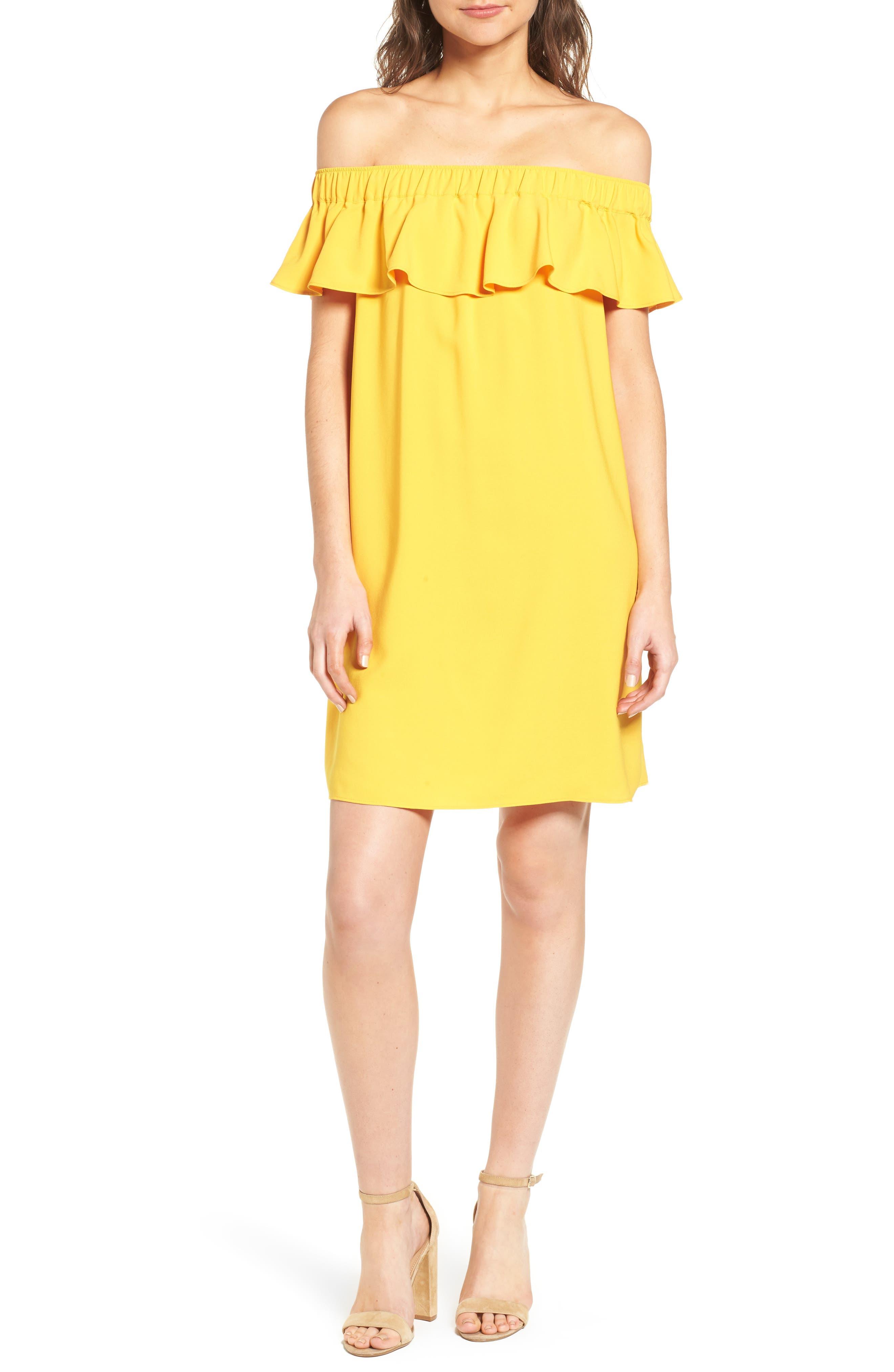 Off the Shoulder Crepe Dress,                             Alternate thumbnail 22, color,