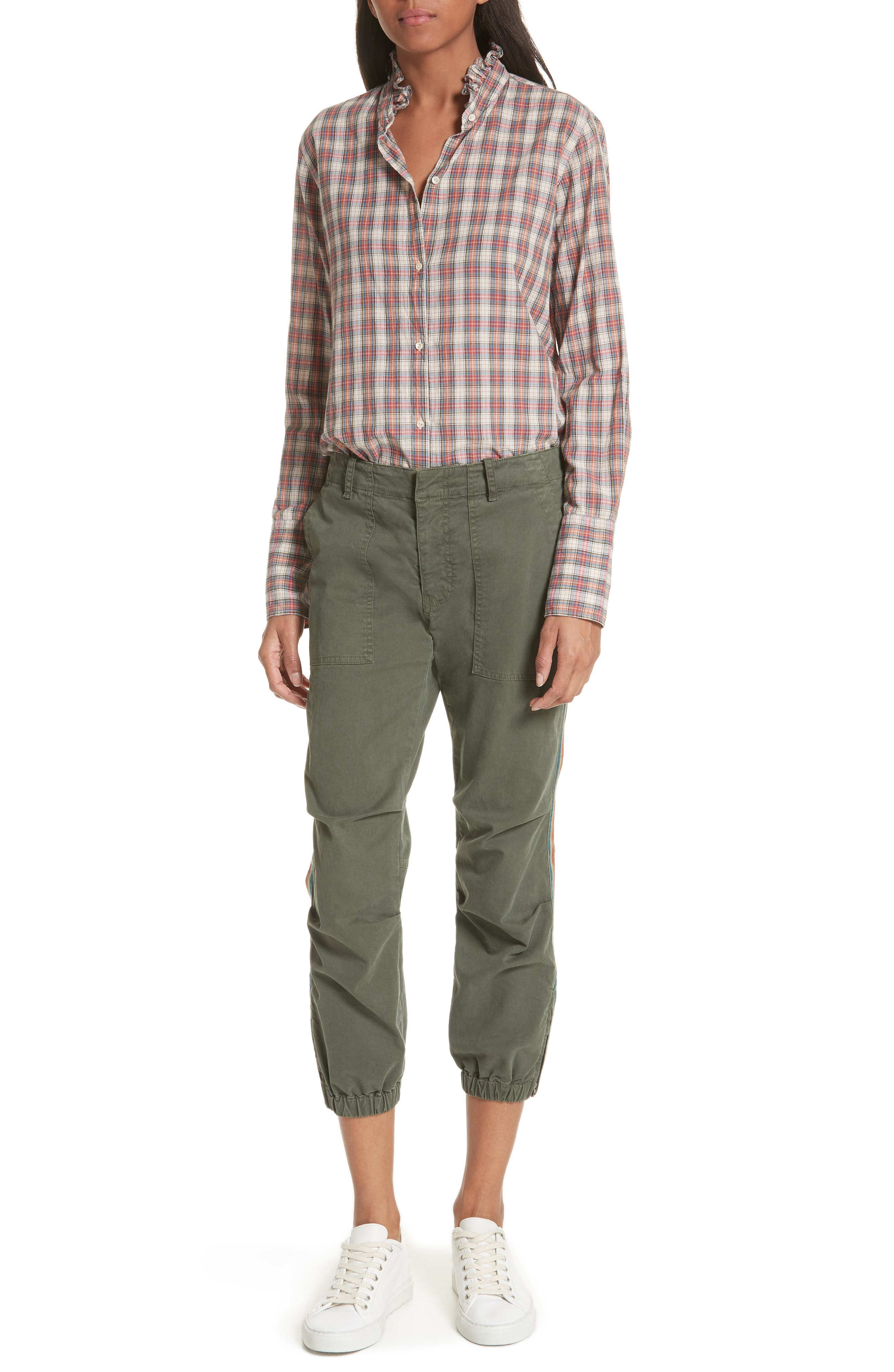 French Crop Military Pants,                             Alternate thumbnail 7, color,                             LODEN