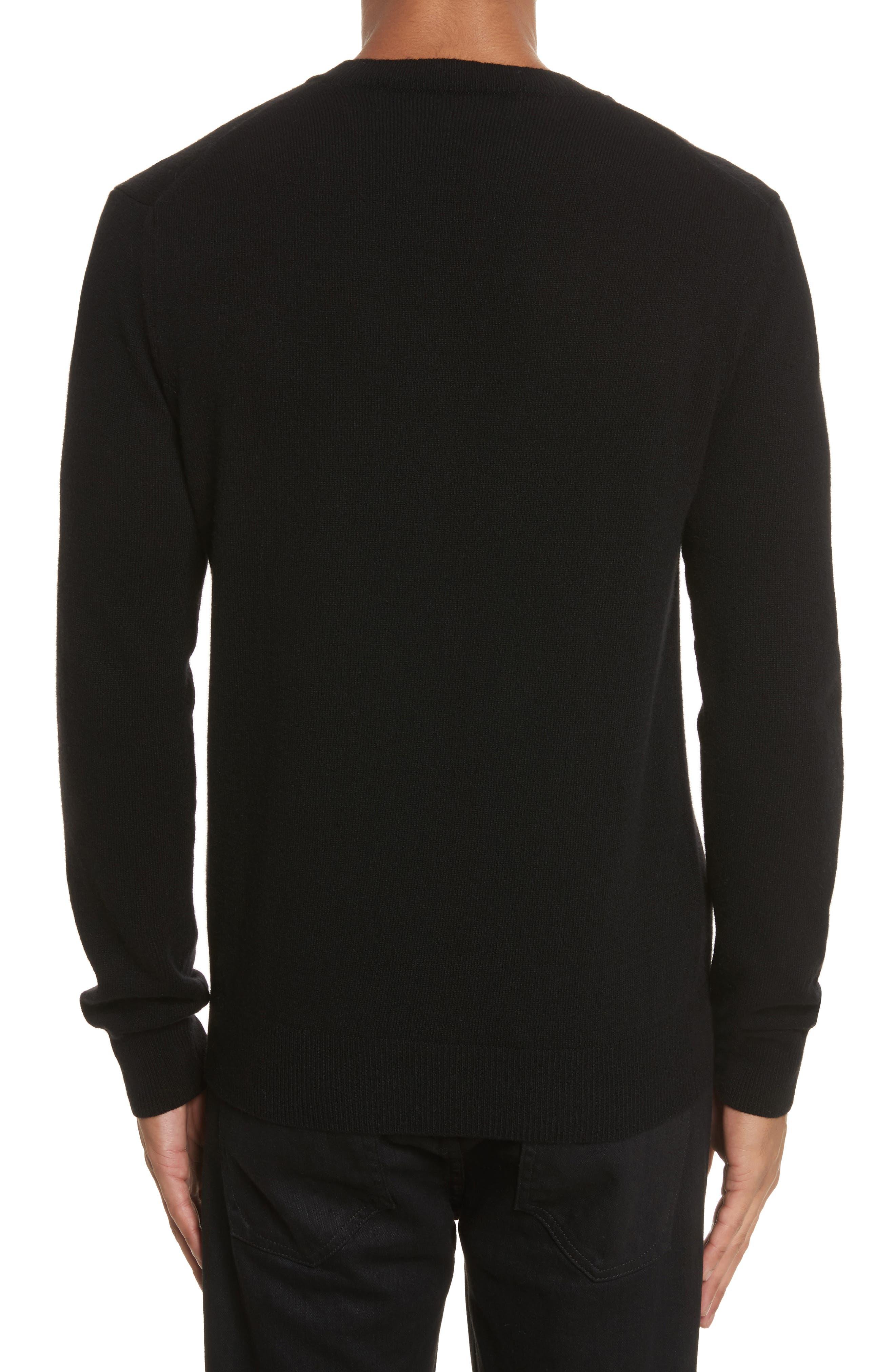 White Heart Wool V-Neck Sweater,                             Alternate thumbnail 2, color,                             BLACK