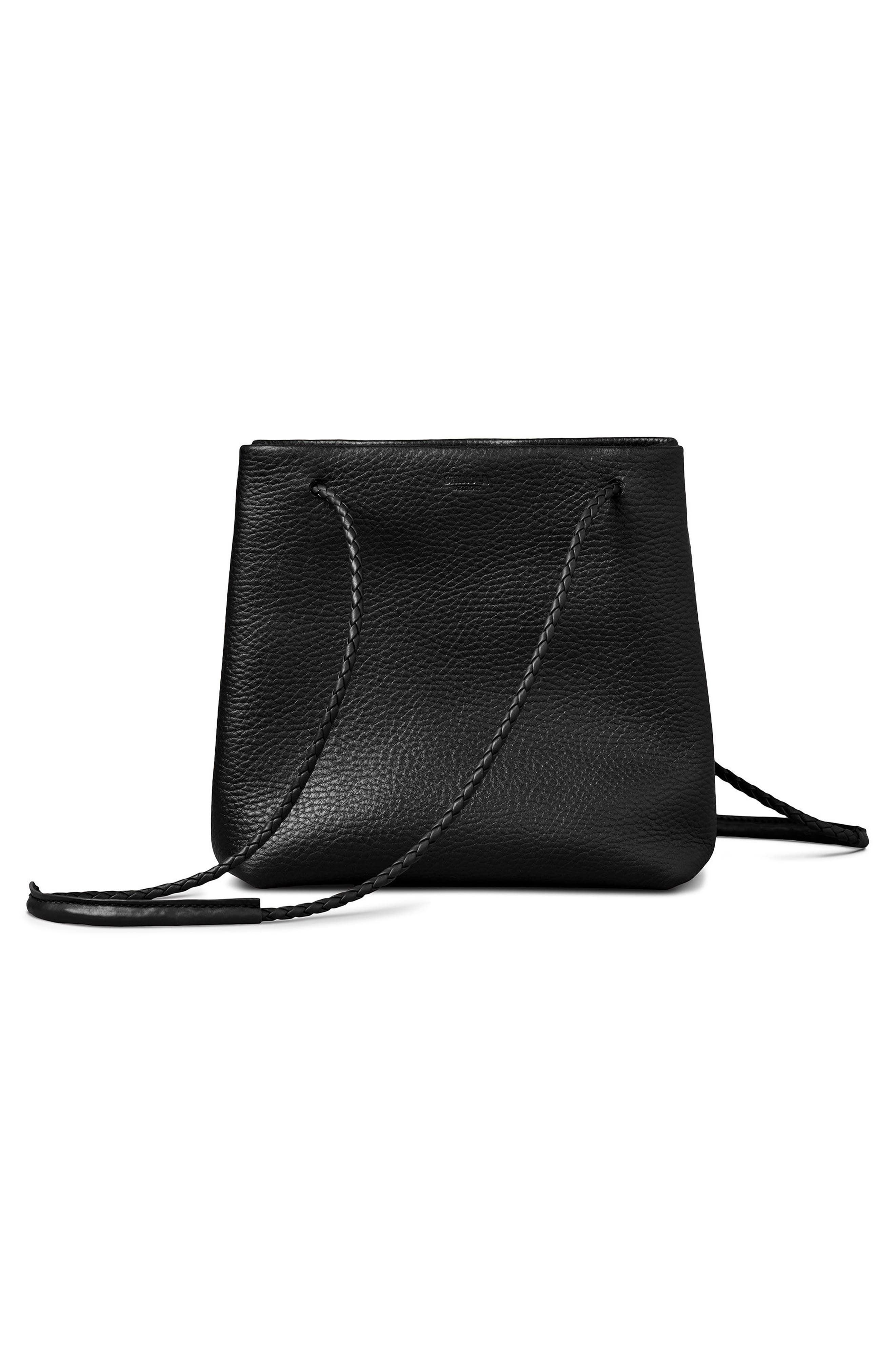 Mini Pebbled Leather Drawstring Crossbody Bag,                             Alternate thumbnail 3, color,                             001