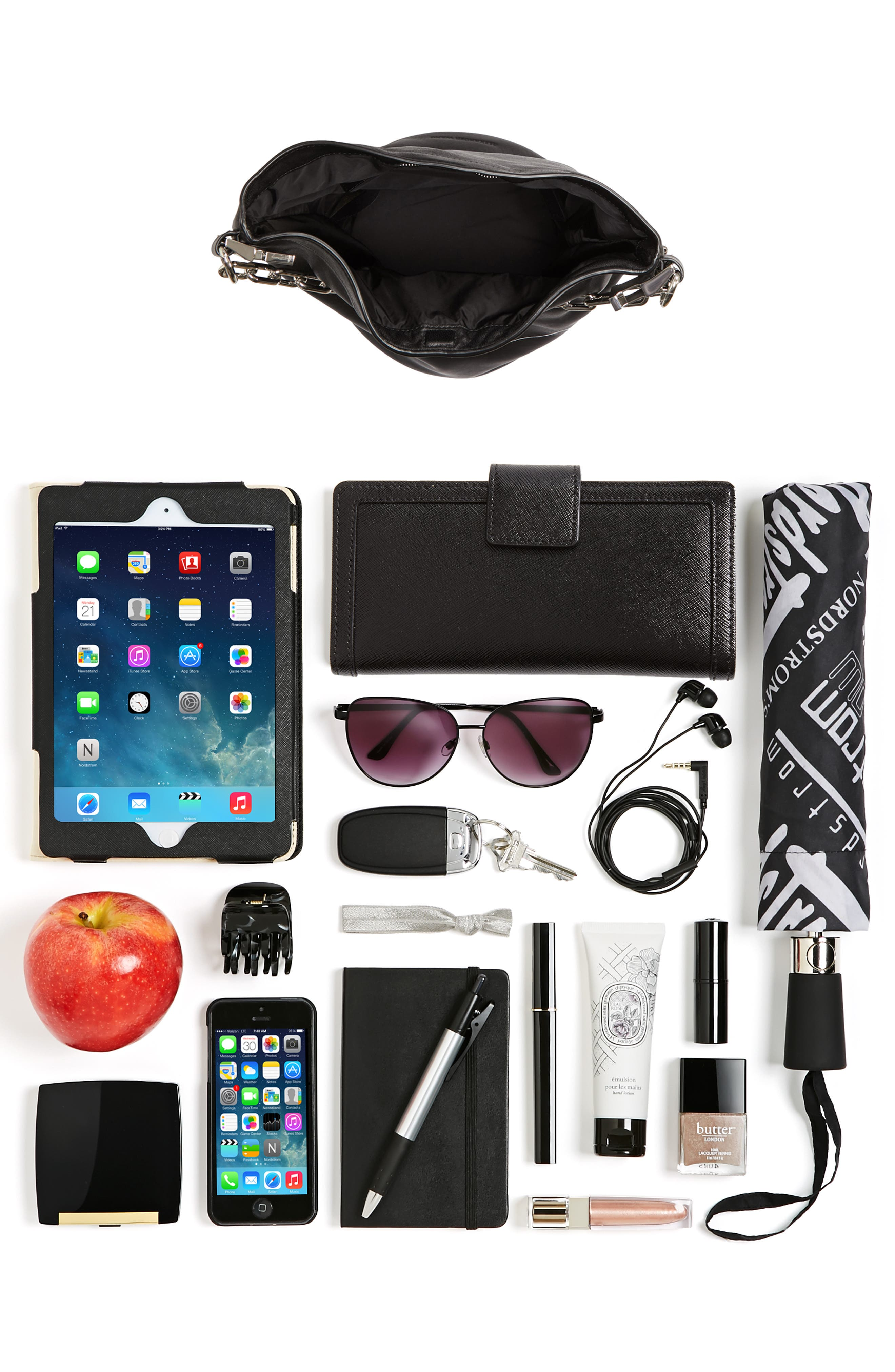 Attica Dry Sack Leather Bucket Bag,                             Alternate thumbnail 8, color,                             BLACK