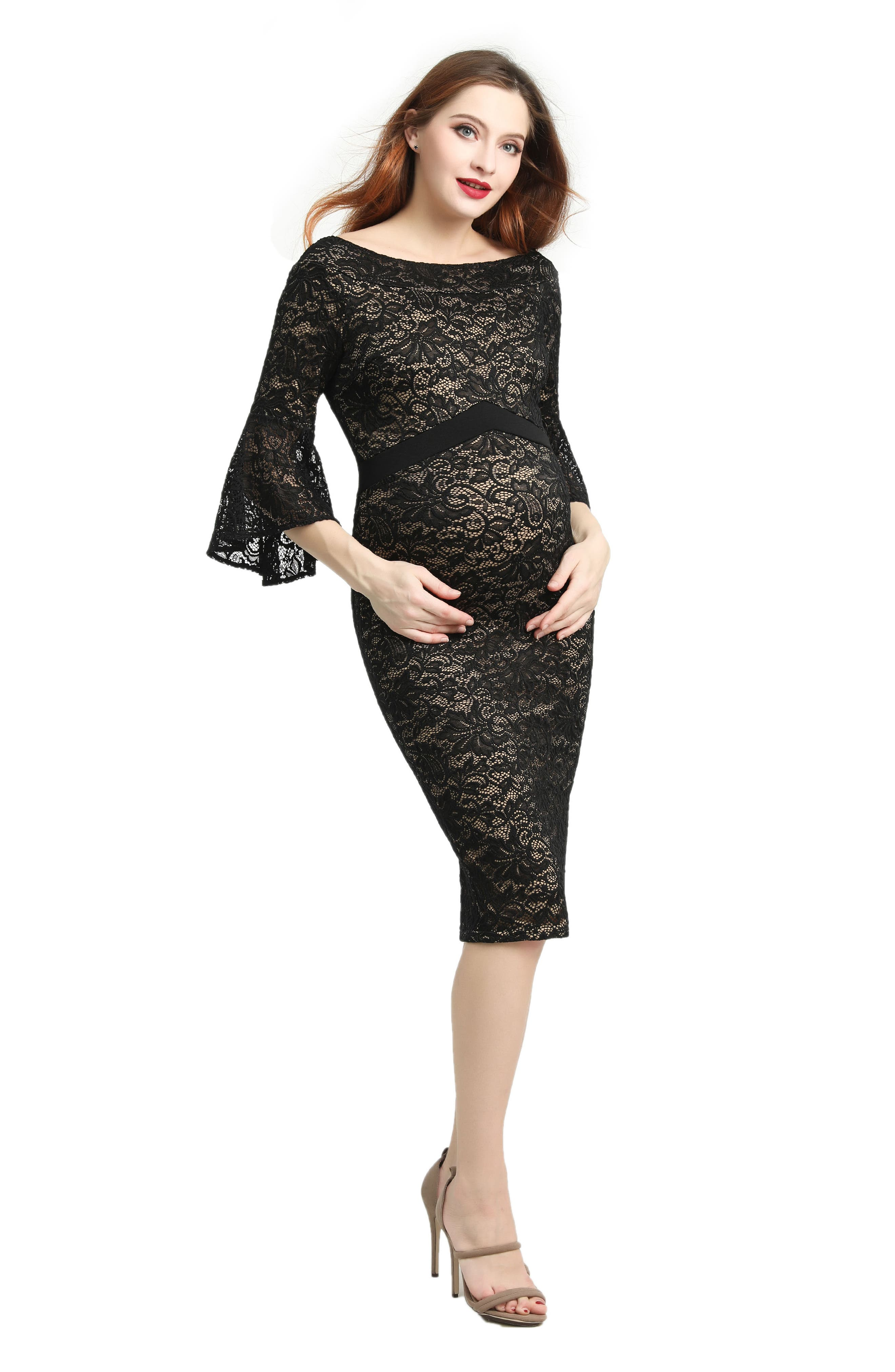 Kimi & Kai Lena Maternity Body-Con Dress,                             Alternate thumbnail 4, color,                             BLACK