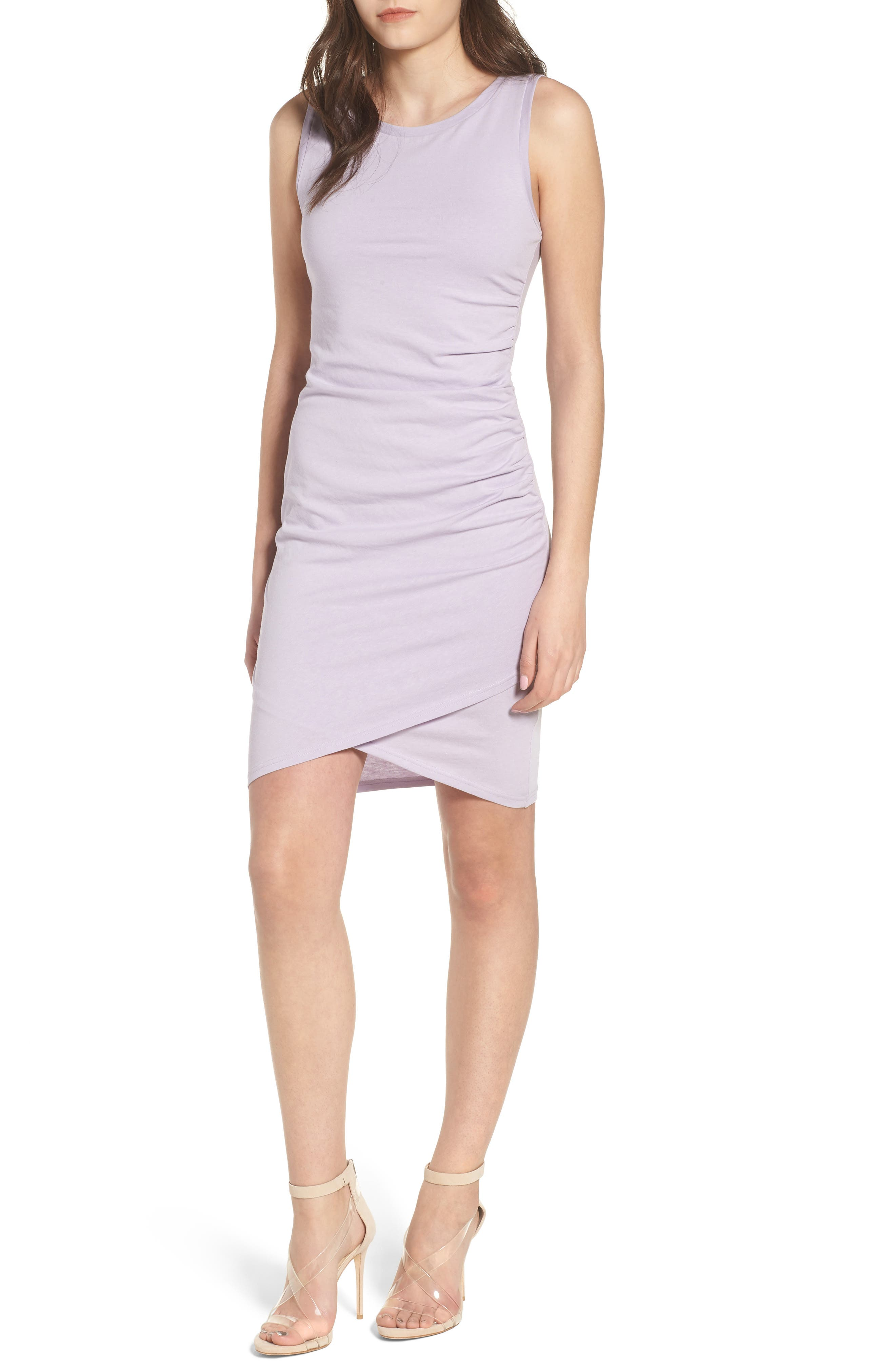 Leith Ruched Body-Con Tank Dress, Purple