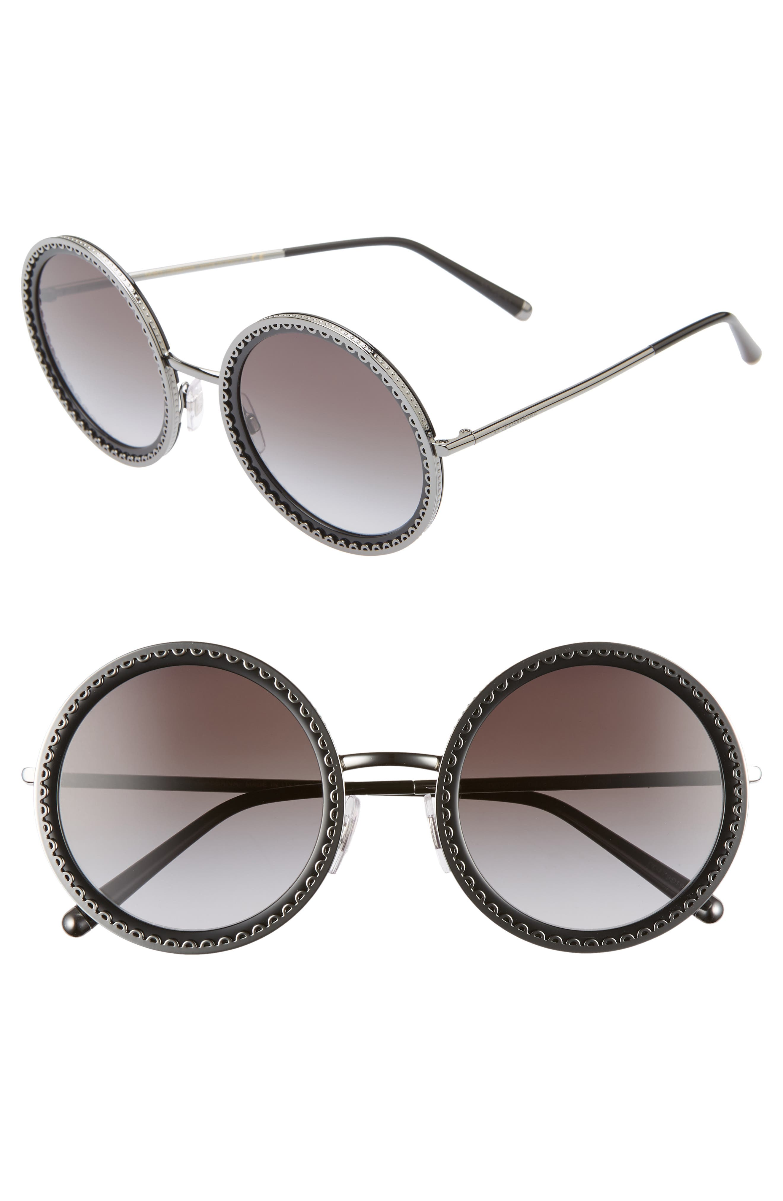 Sacred Heart 53mm Gradient Round Sunglasses,                             Main thumbnail 1, color,                             DARK GUNMETAL GRADIENT
