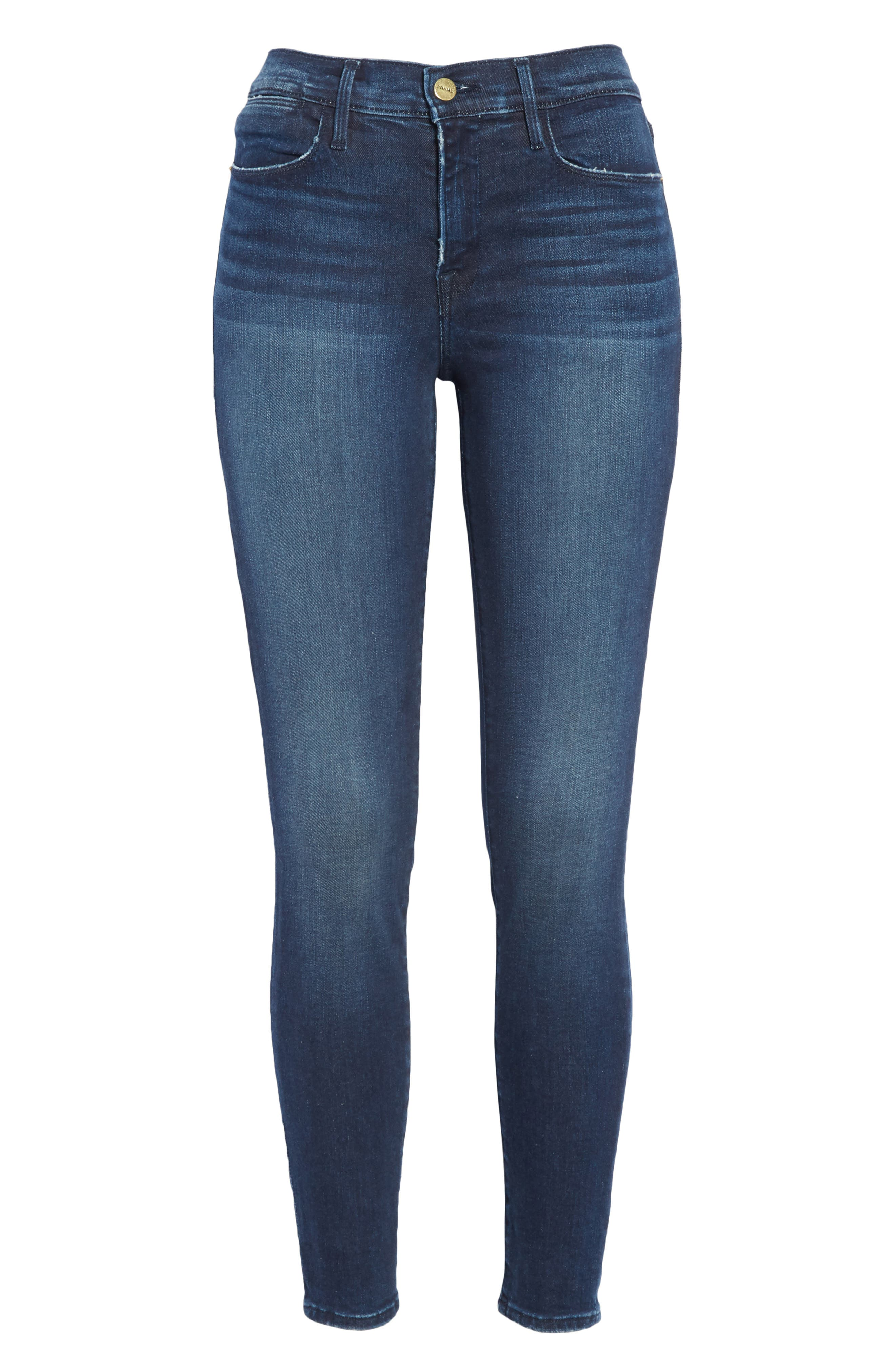 Le High Distressed Skinny Jeans,                             Alternate thumbnail 7, color,                             SWANK