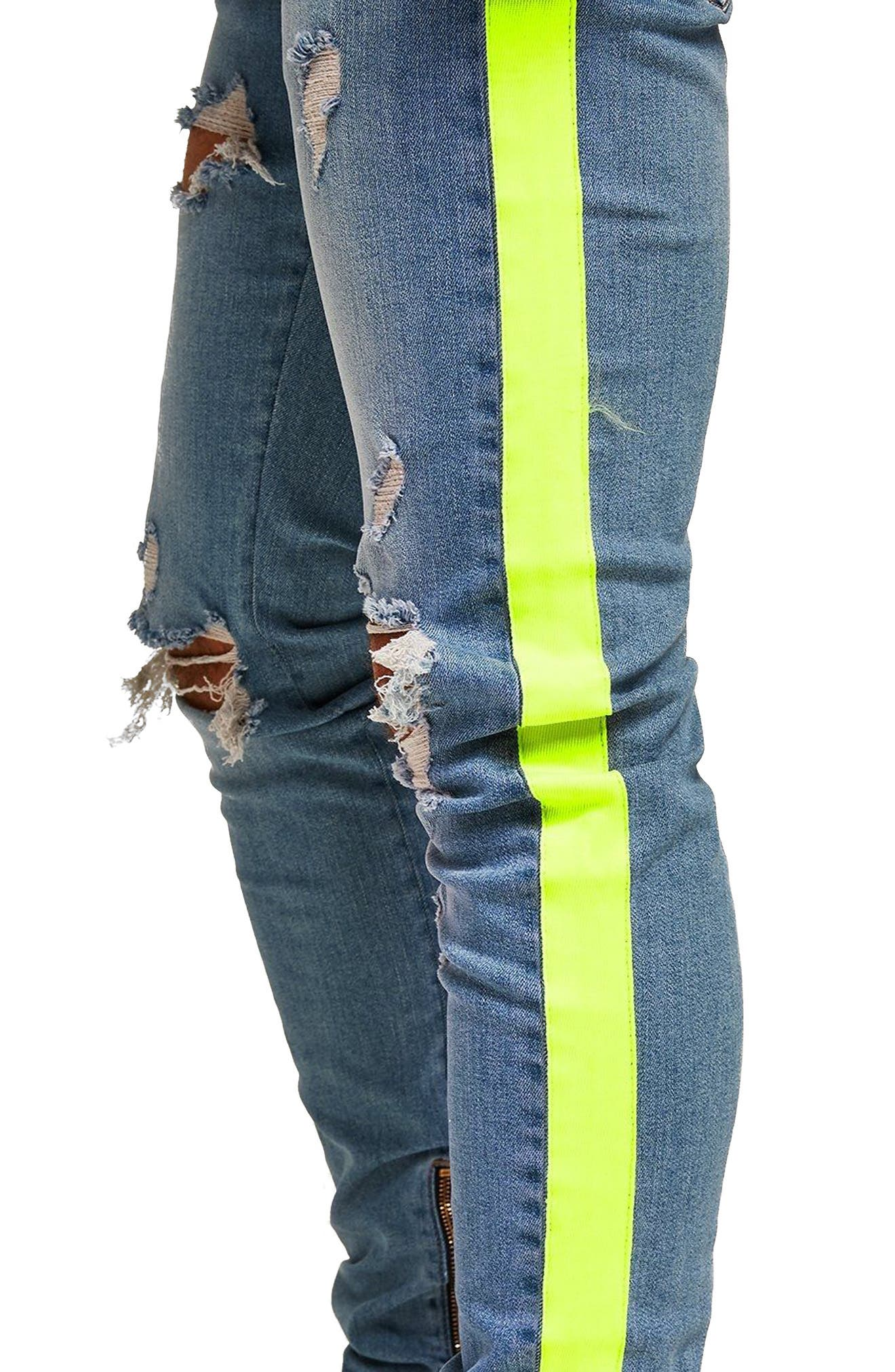 Side Tape Stretch Skinny Fit Jeans,                             Alternate thumbnail 4, color,                             BLUE MULTI