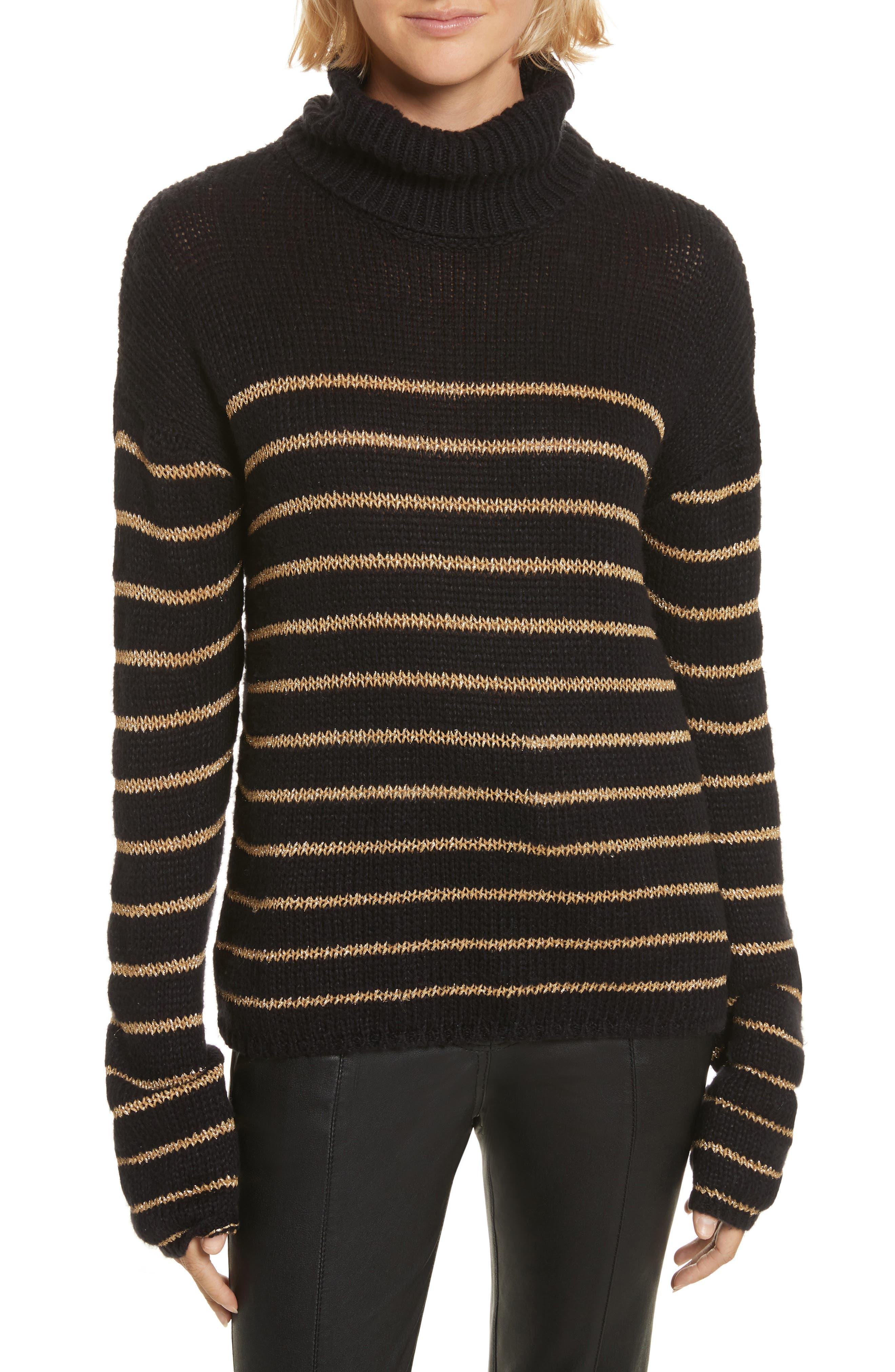 Elisa Metallic Stripe Turtleneck Sweater,                             Main thumbnail 1, color,                             010