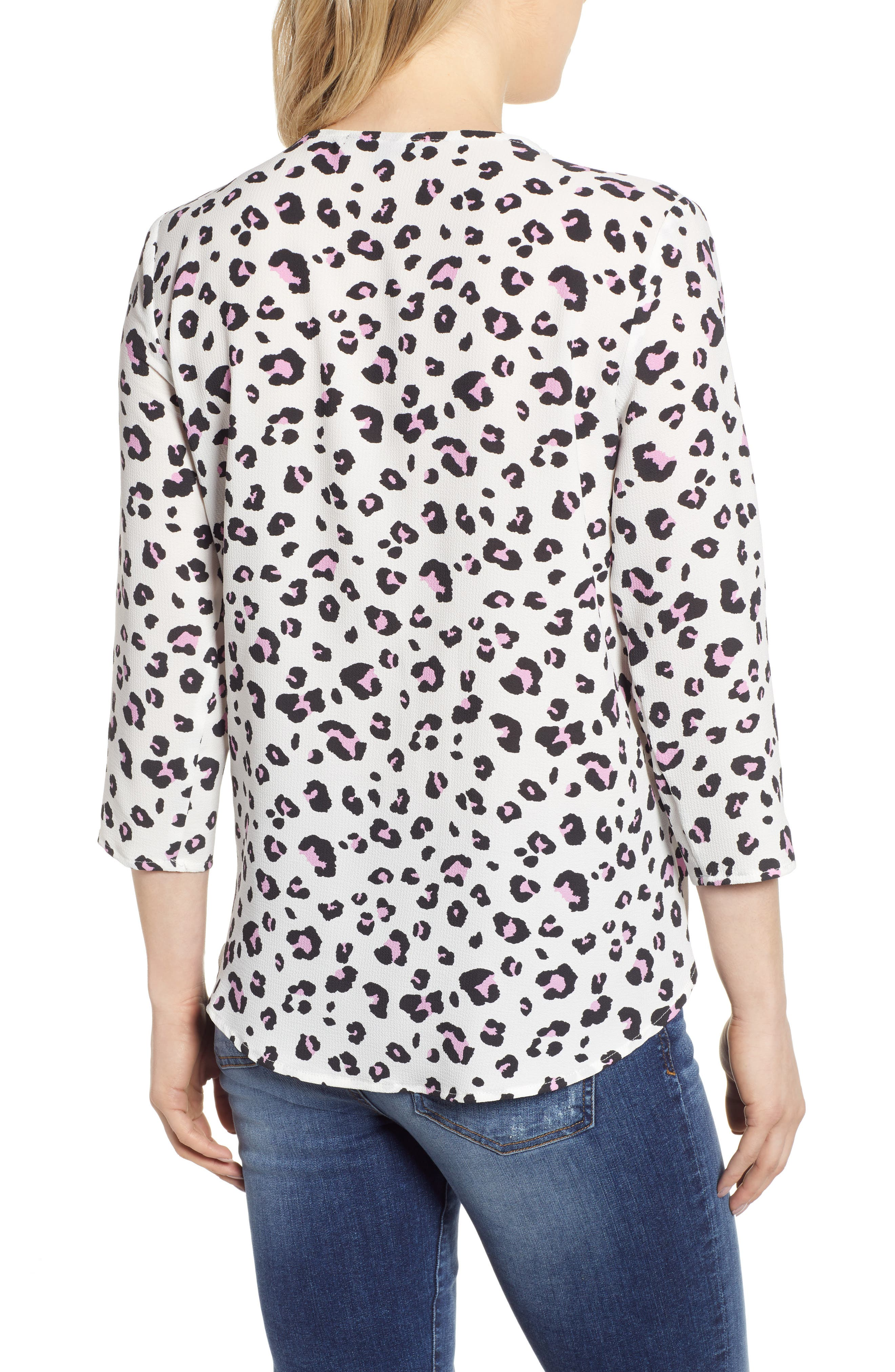 GIBSON,                             x International Women's Day Rebecca Scalloped Wrap Top,                             Alternate thumbnail 2, color,                             IVORY/ BLACK LEOPARD