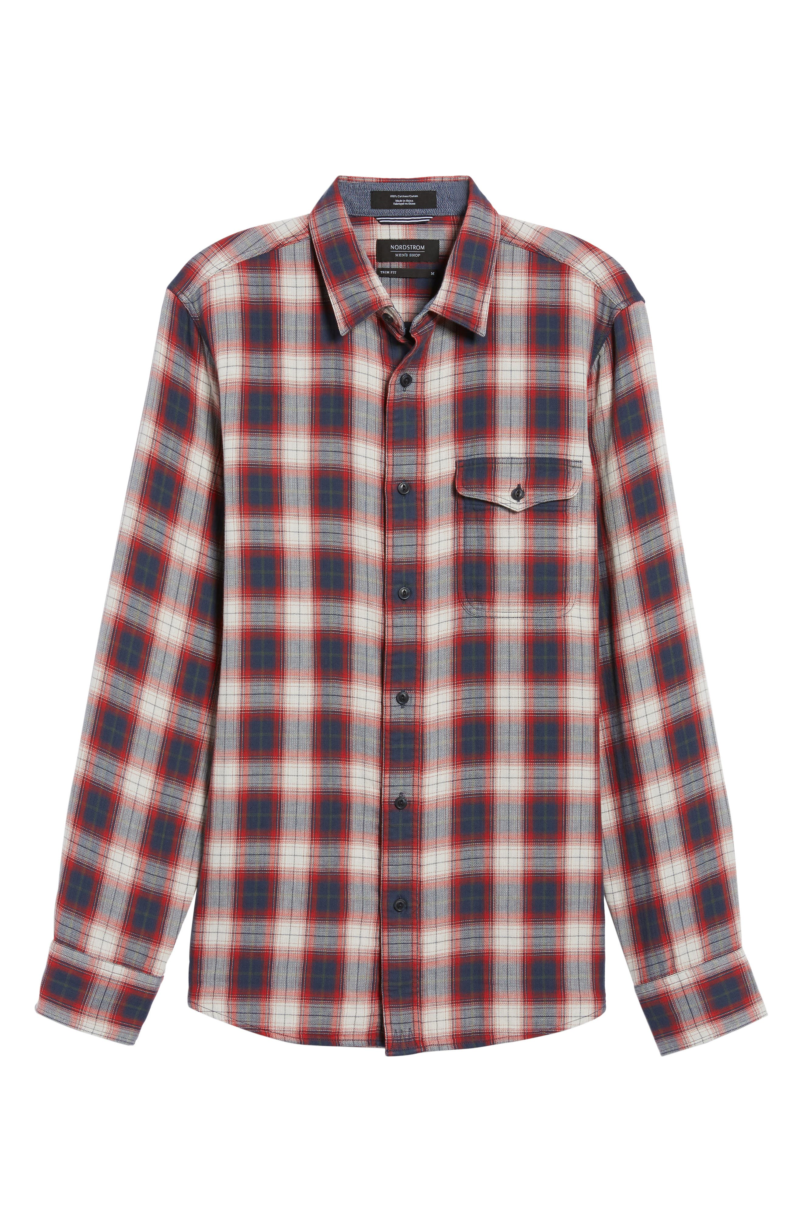 Trim Fit Lumber Duofold Sport Shirt,                             Alternate thumbnail 6, color,
