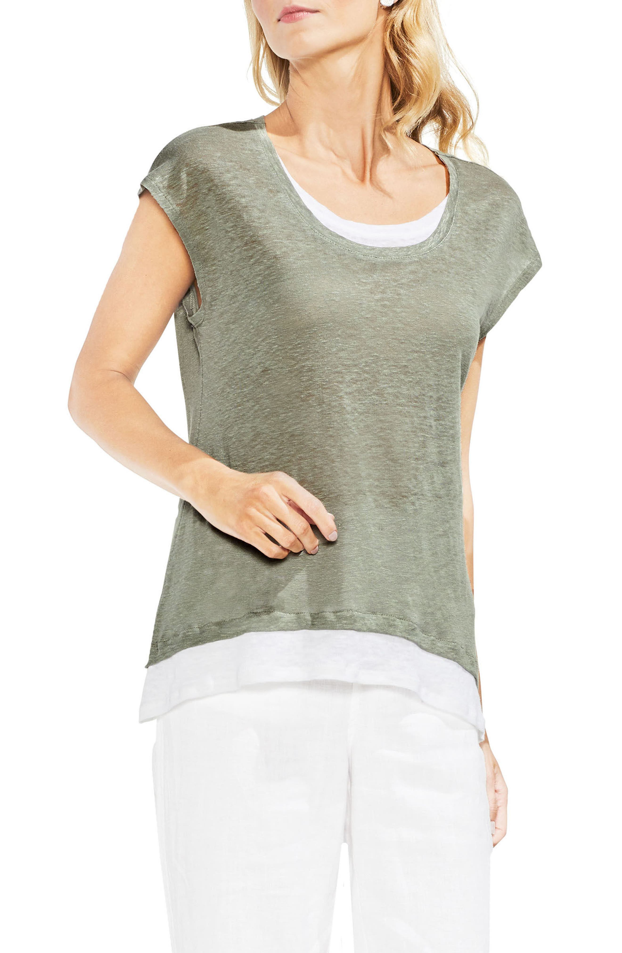 Layered Look Scoop Neck Tee,                         Main,                         color, 300