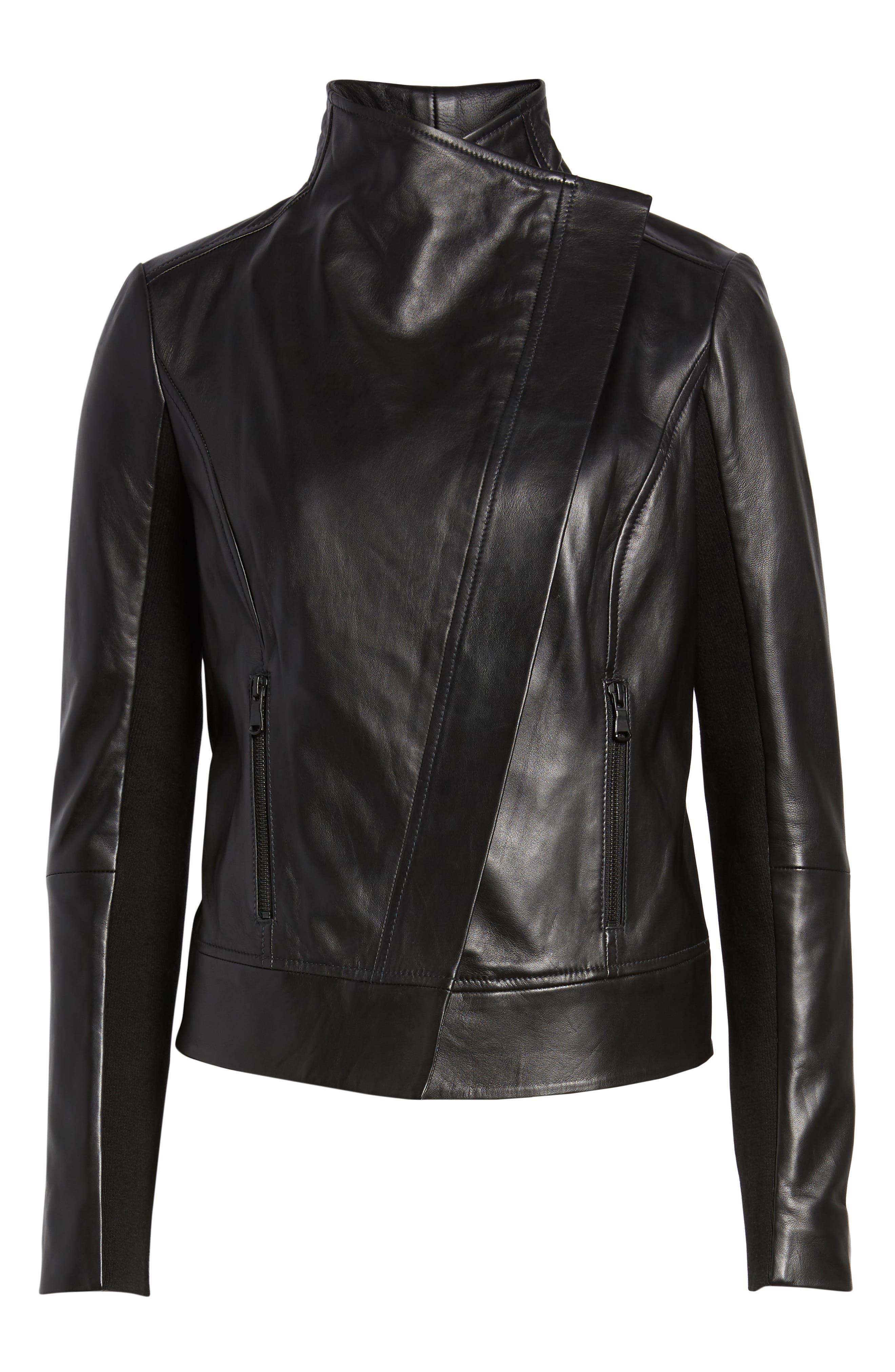 Drape Front Leather Jacket,                             Alternate thumbnail 6, color,                             BLACK