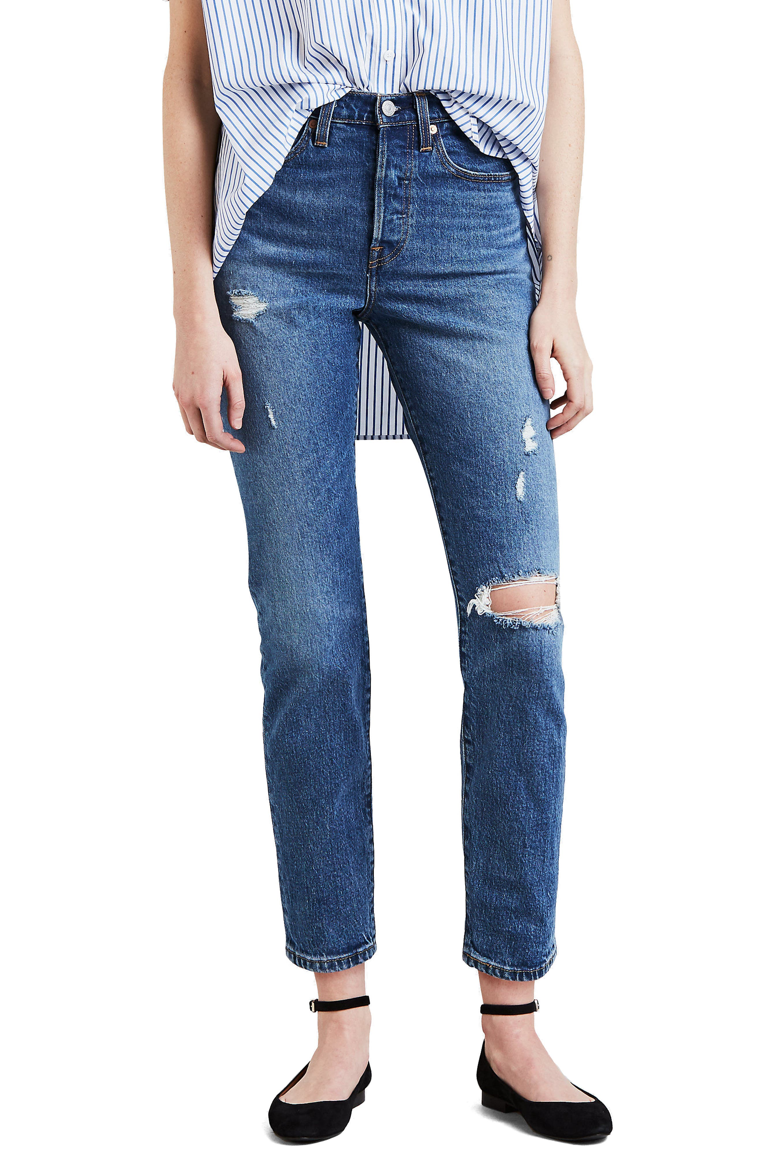 Wedgie Icon Fit Ripped High Waist Ankle Jeans,                             Main thumbnail 1, color,                             HIGHER LOVE