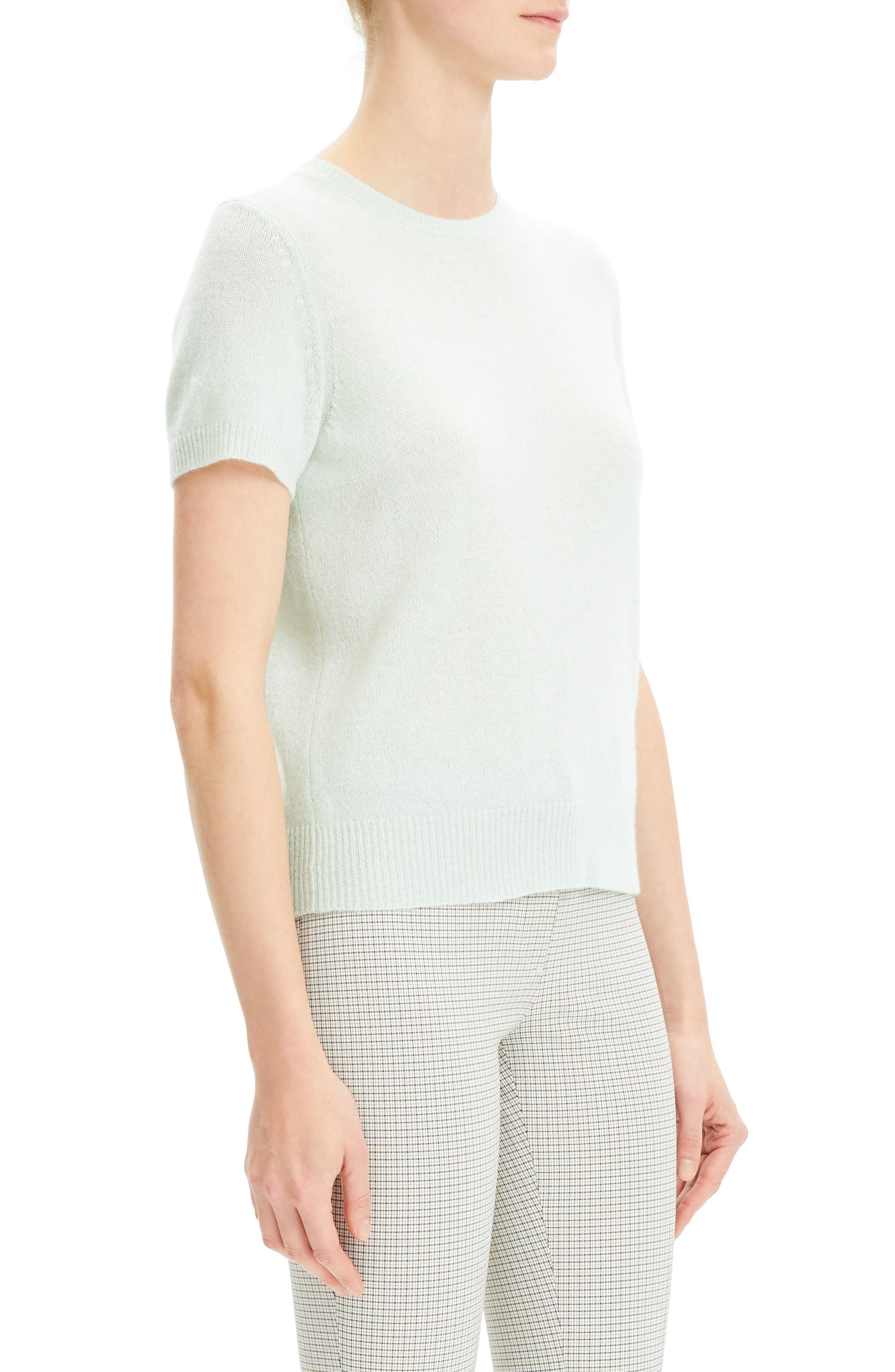 THEORY,                             Featherweight Cashmere Sweater,                             Alternate thumbnail 3, color,                             OPAL GREEN