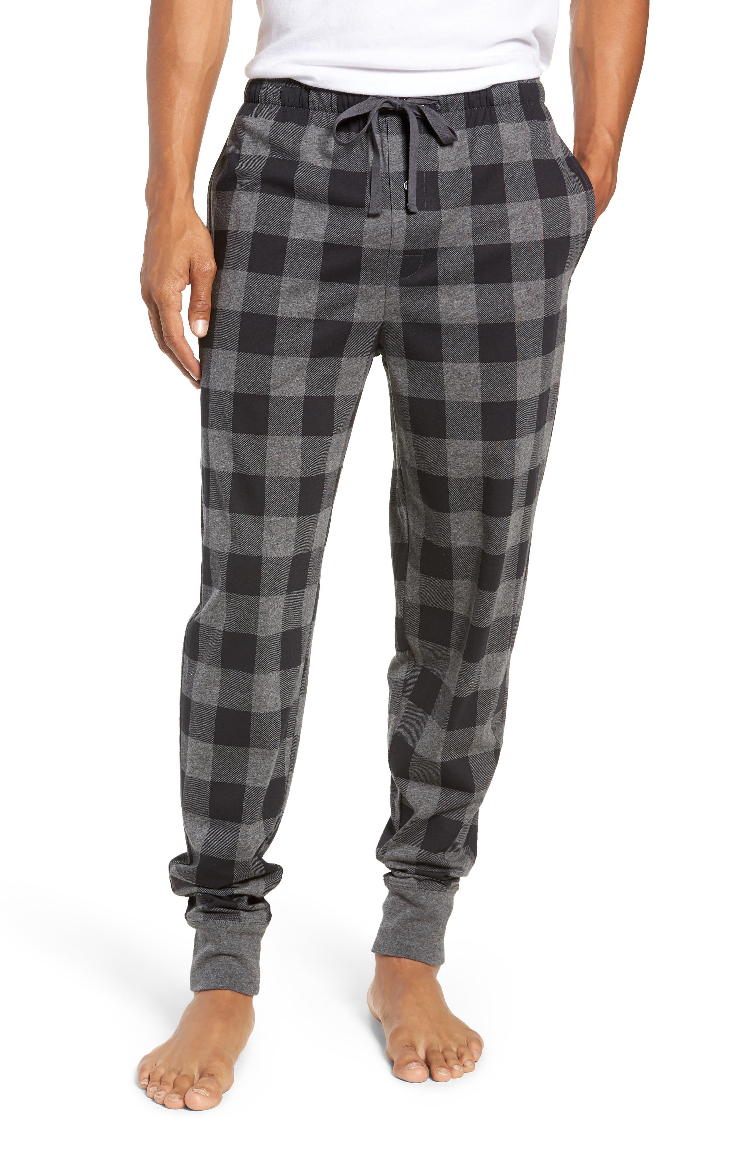 Cotton Lounge Pants,                         Main,                         color, CHARCOAL/ BUFFALO PLAID