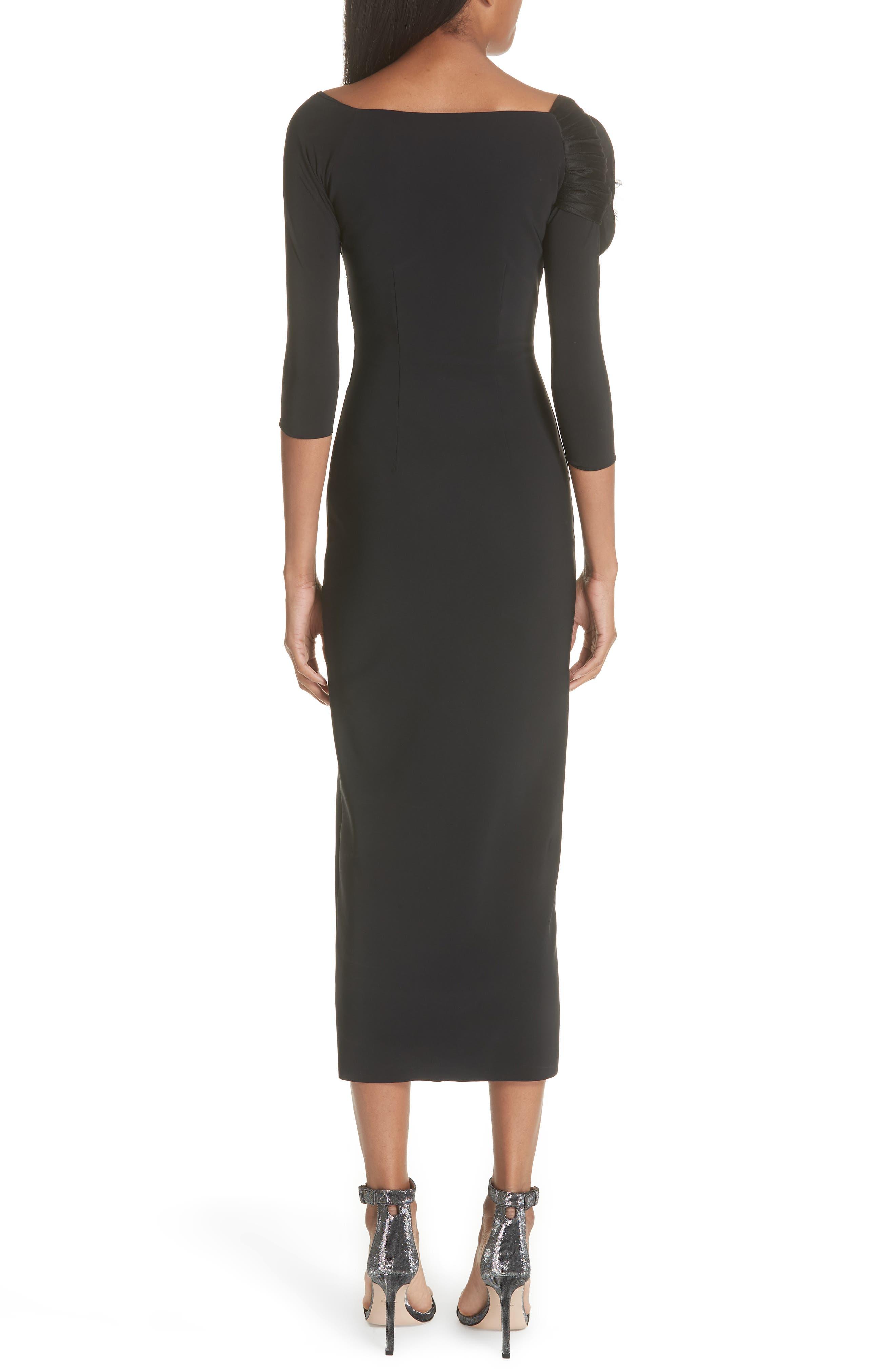 Altyn Taffeta Rose Cocktail Dress,                             Alternate thumbnail 2, color,                             BLACK