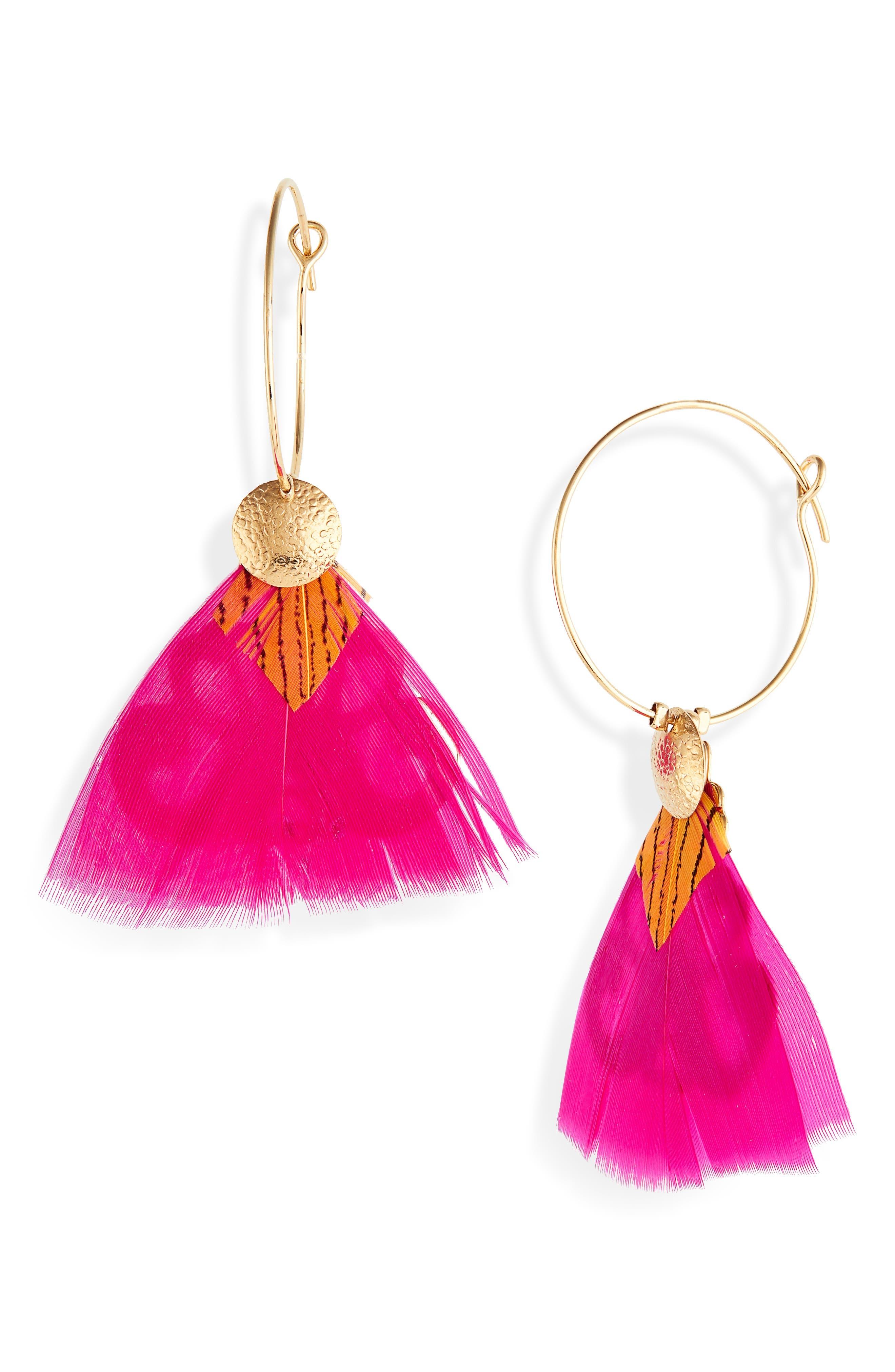 GAS BIJOUX Bermude Feather Hoop Earrings in Pink