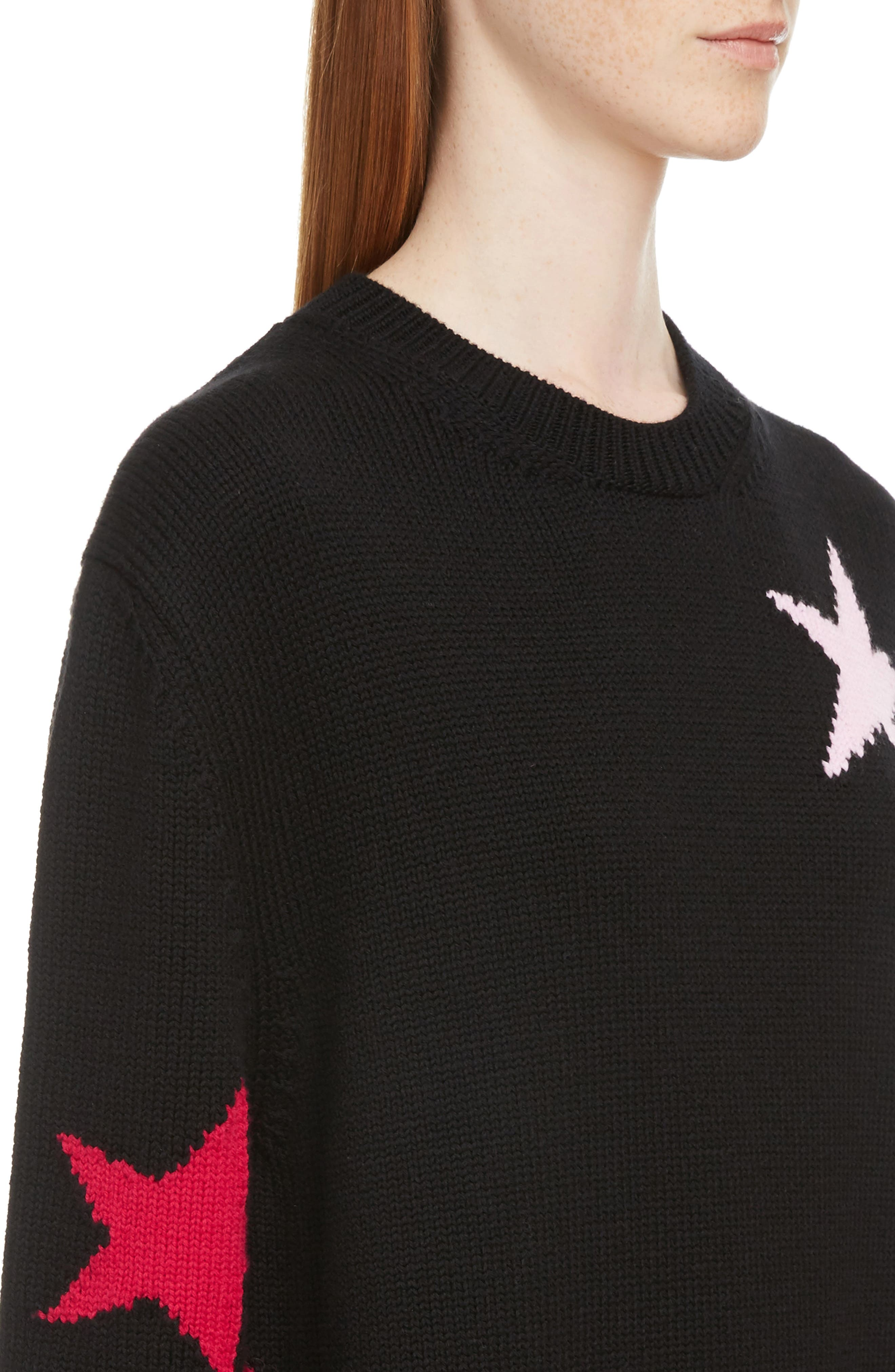 Star Cutout Wool Sweater,                             Alternate thumbnail 4, color,                             001
