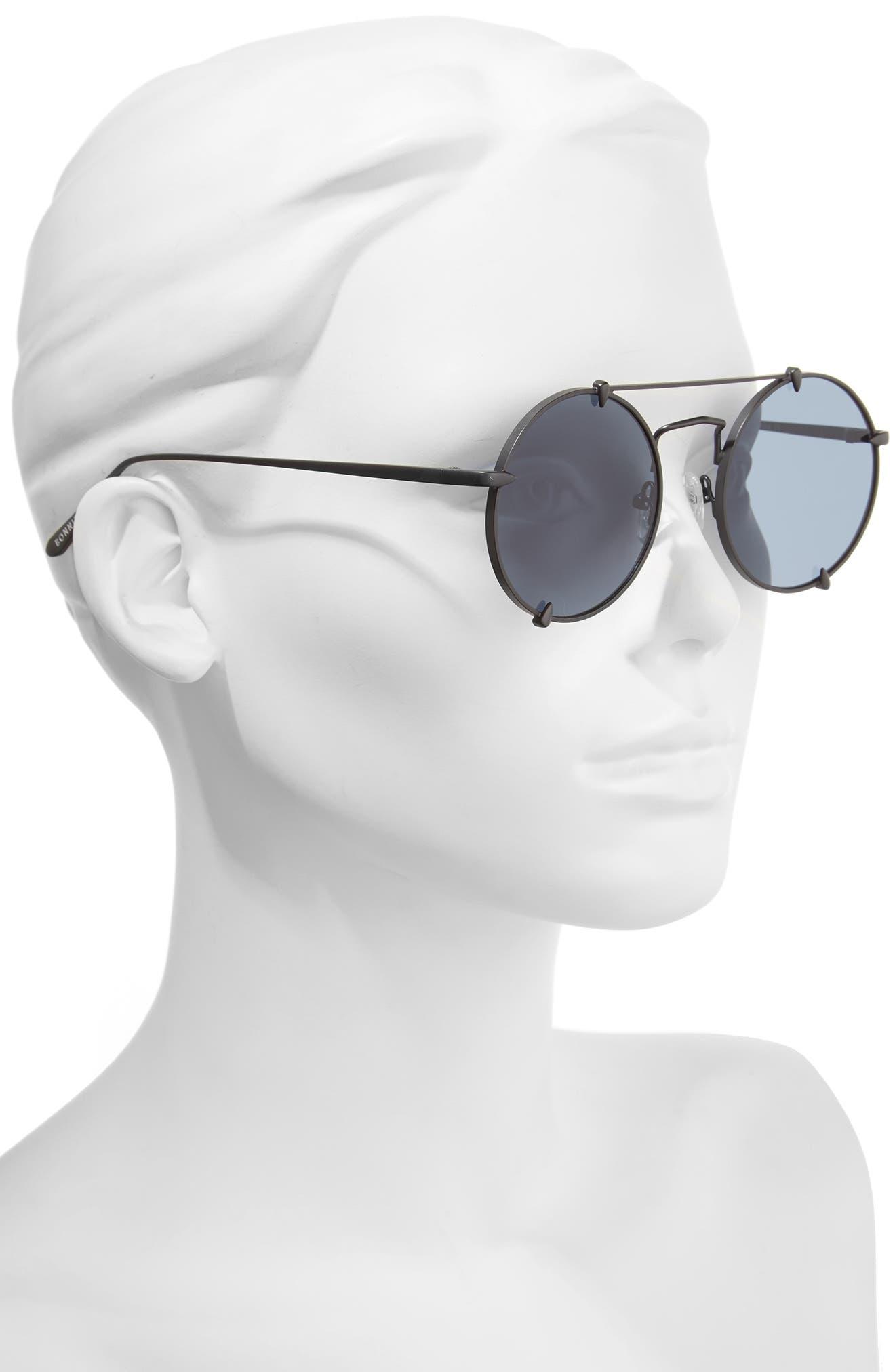 Bonnie Clide Pico 51mm Round Browbar Sunglasses,                             Alternate thumbnail 2, color,                             001