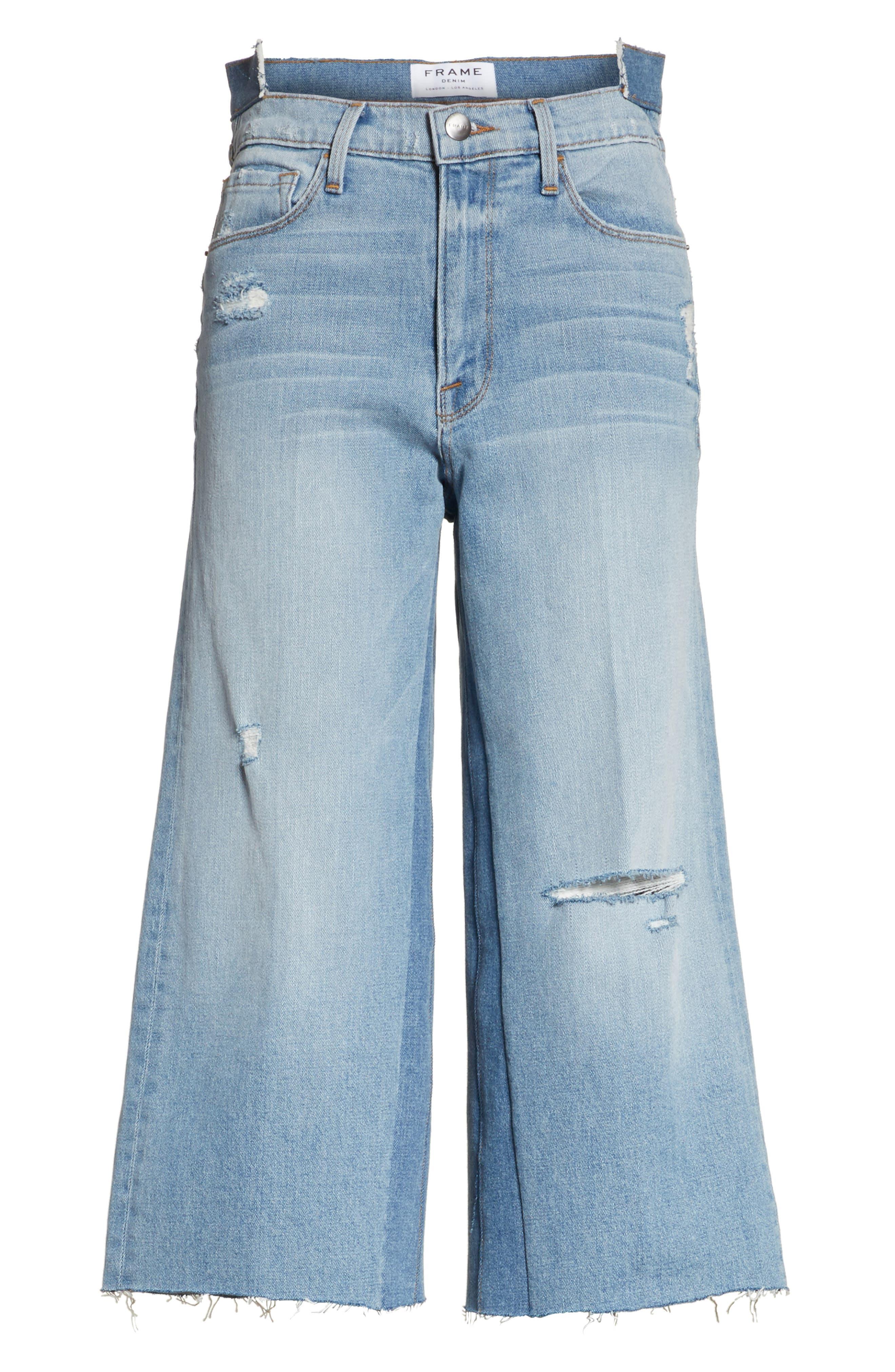 Le Reconstructed High Waist Crop Wide Leg Jeans,                             Alternate thumbnail 6, color,                             451