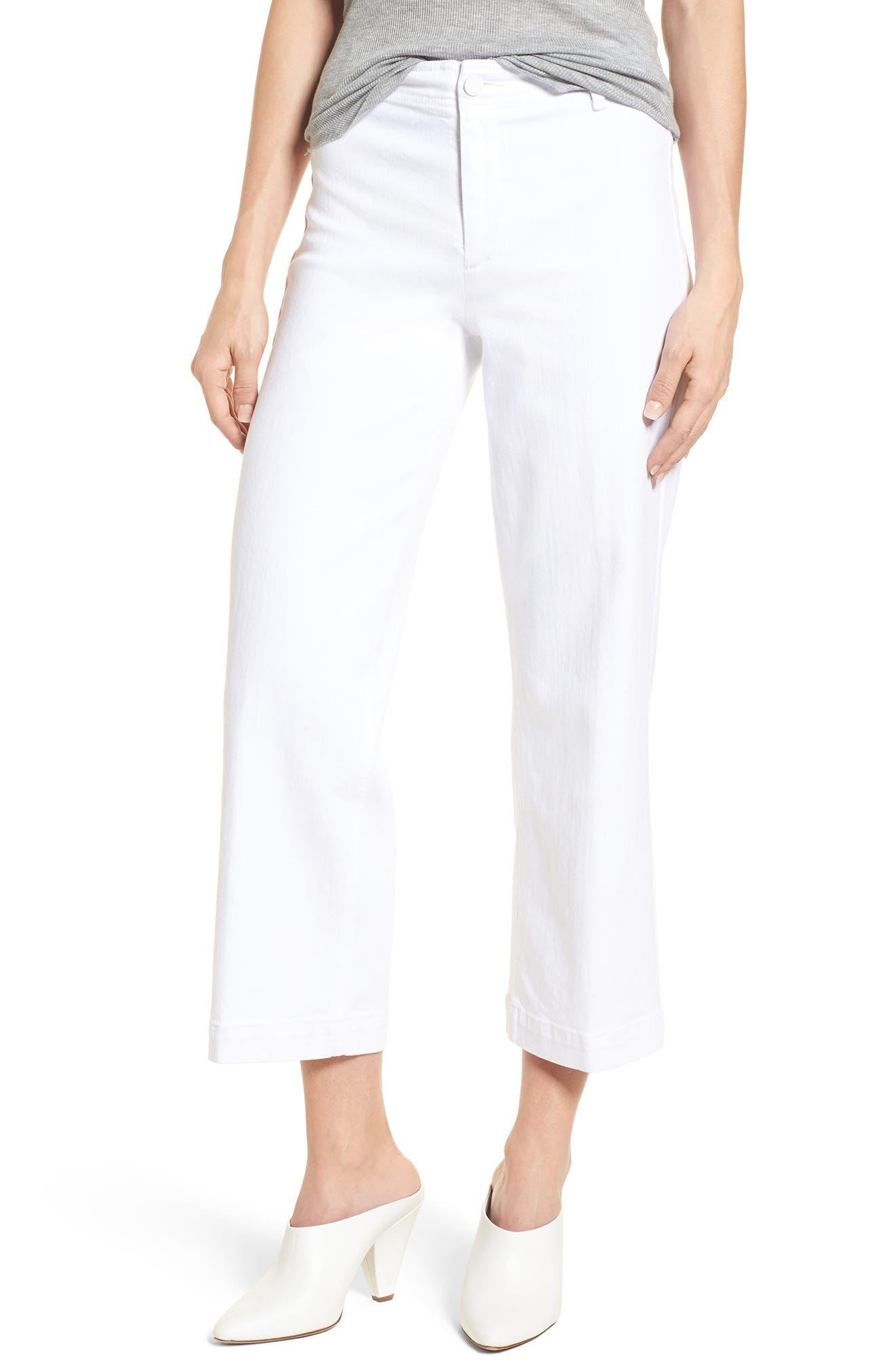 Nellie Clean Front Culotte Jeans,                             Main thumbnail 1, color,                             CRISP WHITE
