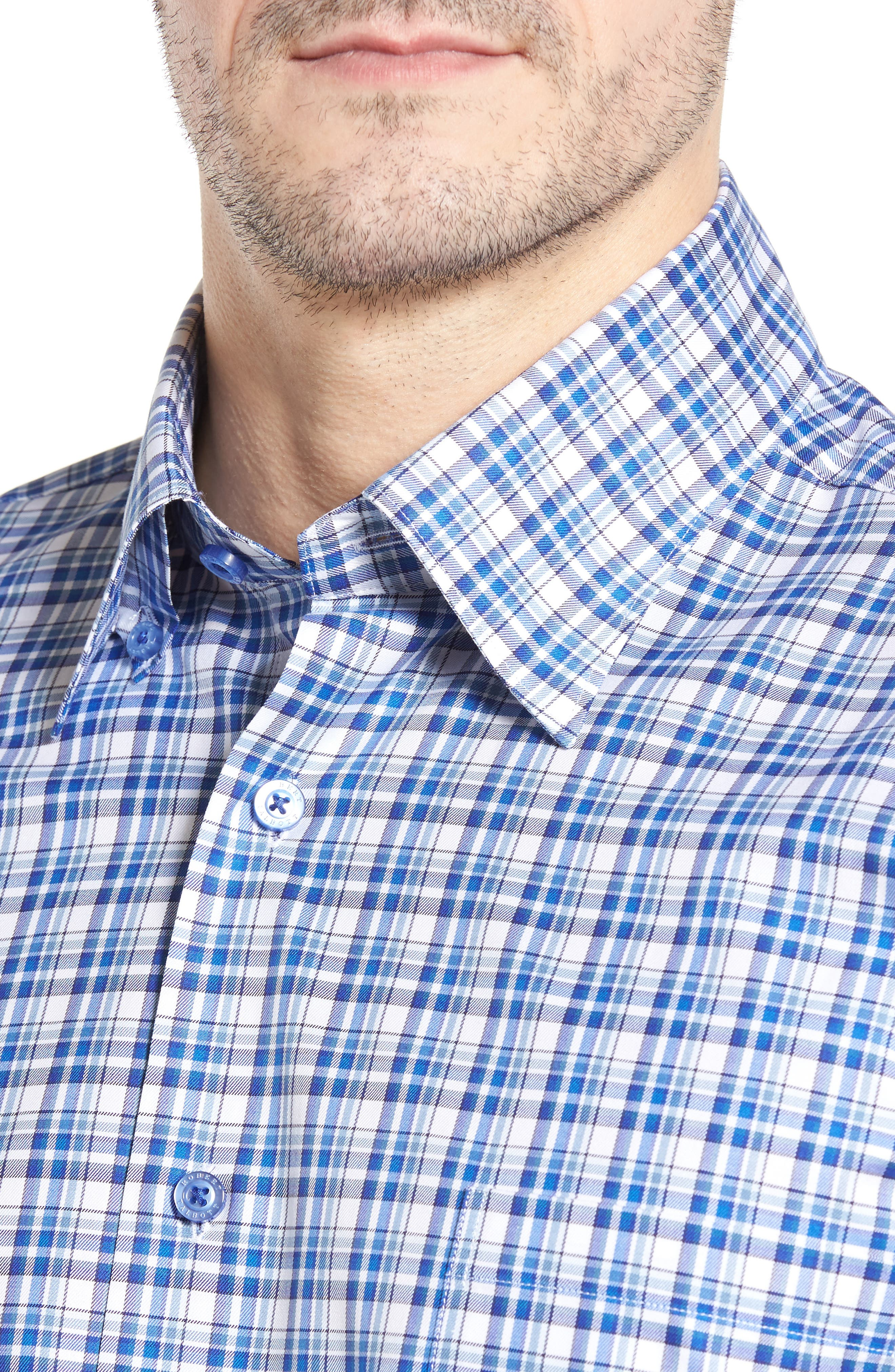 Anderson Classic Fit Plaid Micro Twill Sport Shirt,                             Alternate thumbnail 4, color,                             417
