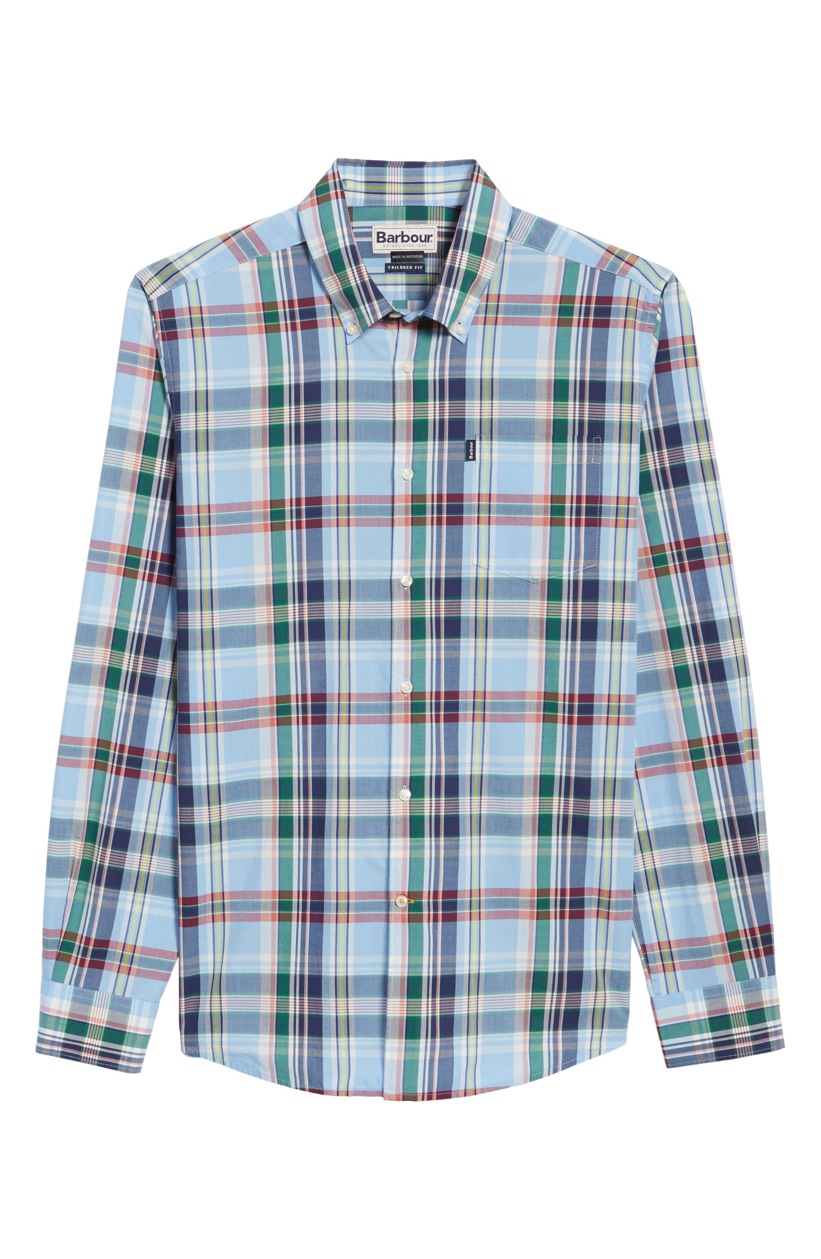 Jeff Trim Fit Plaid Sport Shirt,                             Alternate thumbnail 6, color,                             450