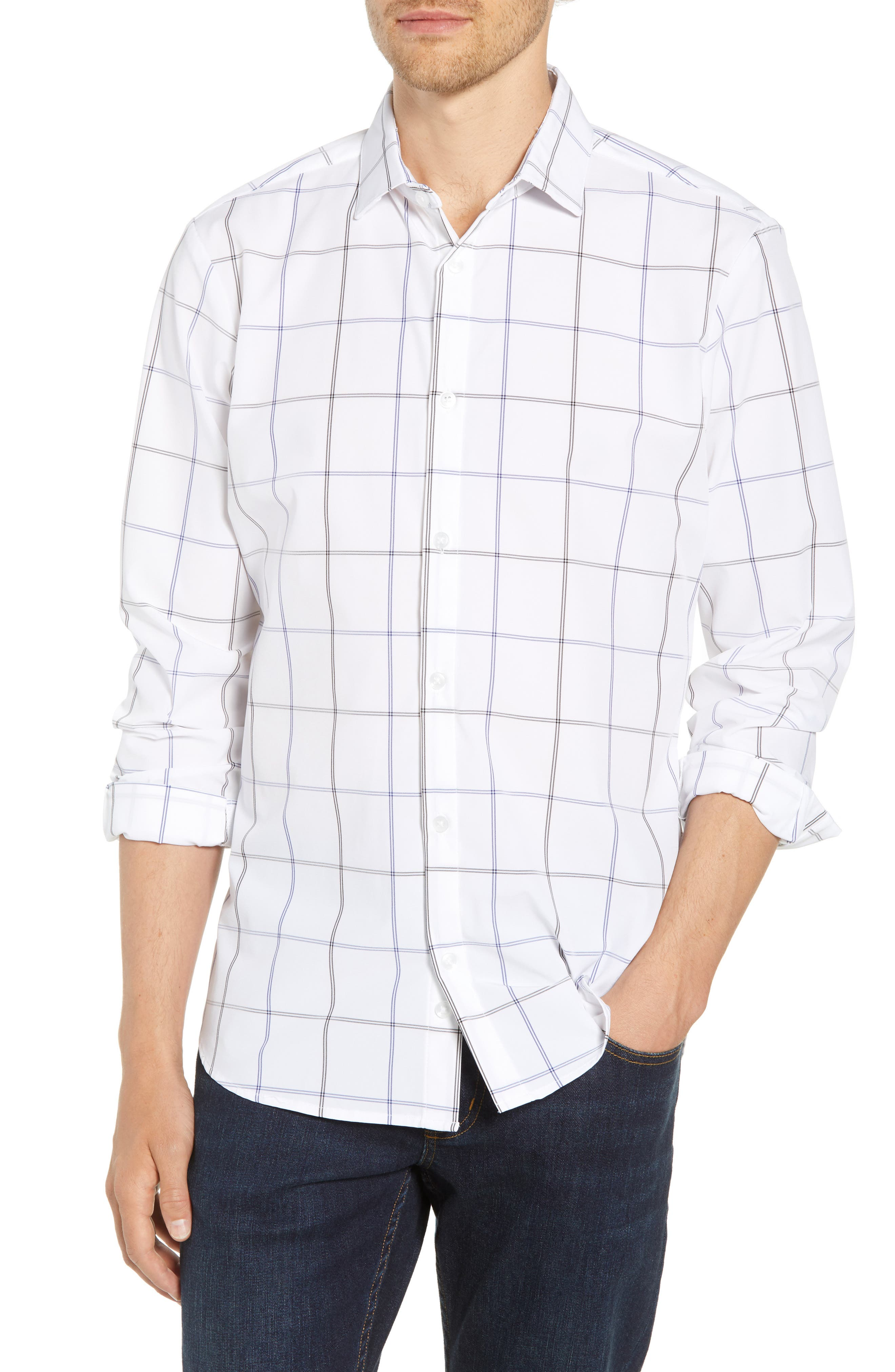 Crossman Slim Fit Grid Performance Sport Shirt,                             Main thumbnail 1, color,                             WHITE