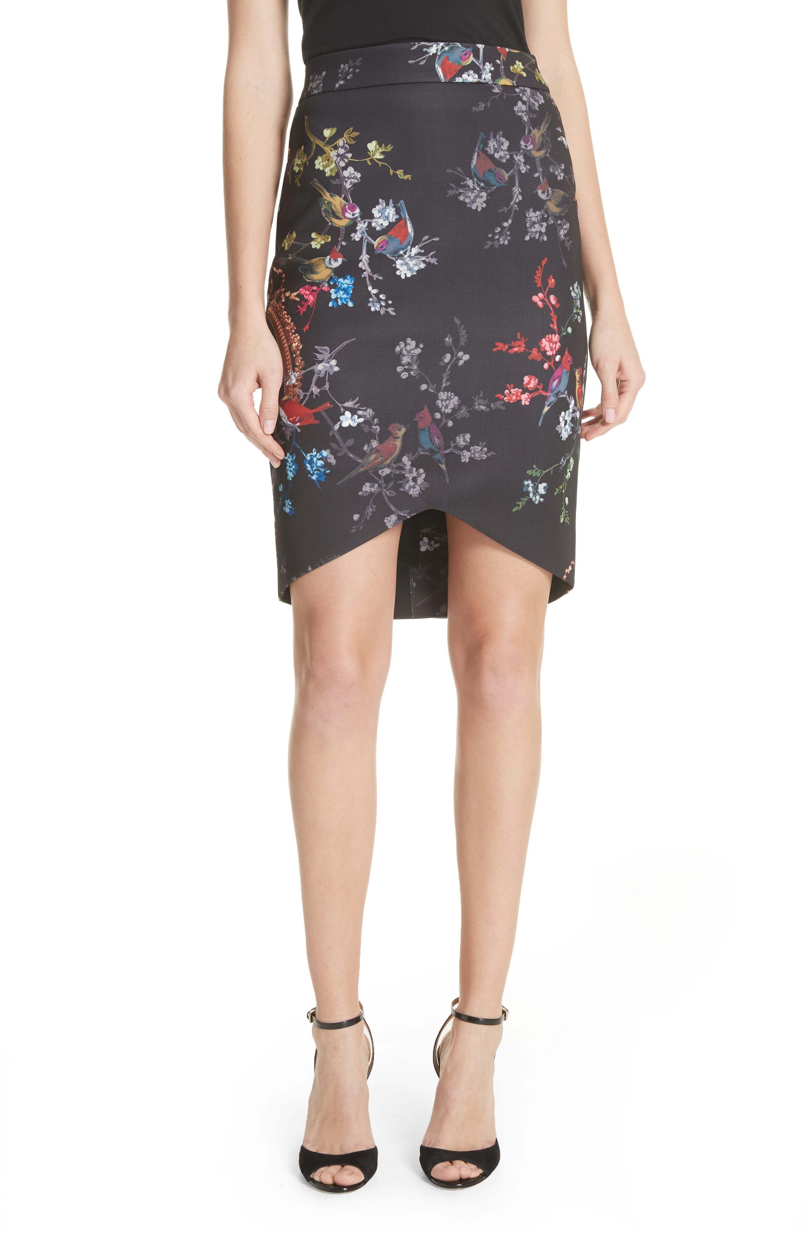 Opulent Fauna Pencil Skirt,                             Main thumbnail 1, color,