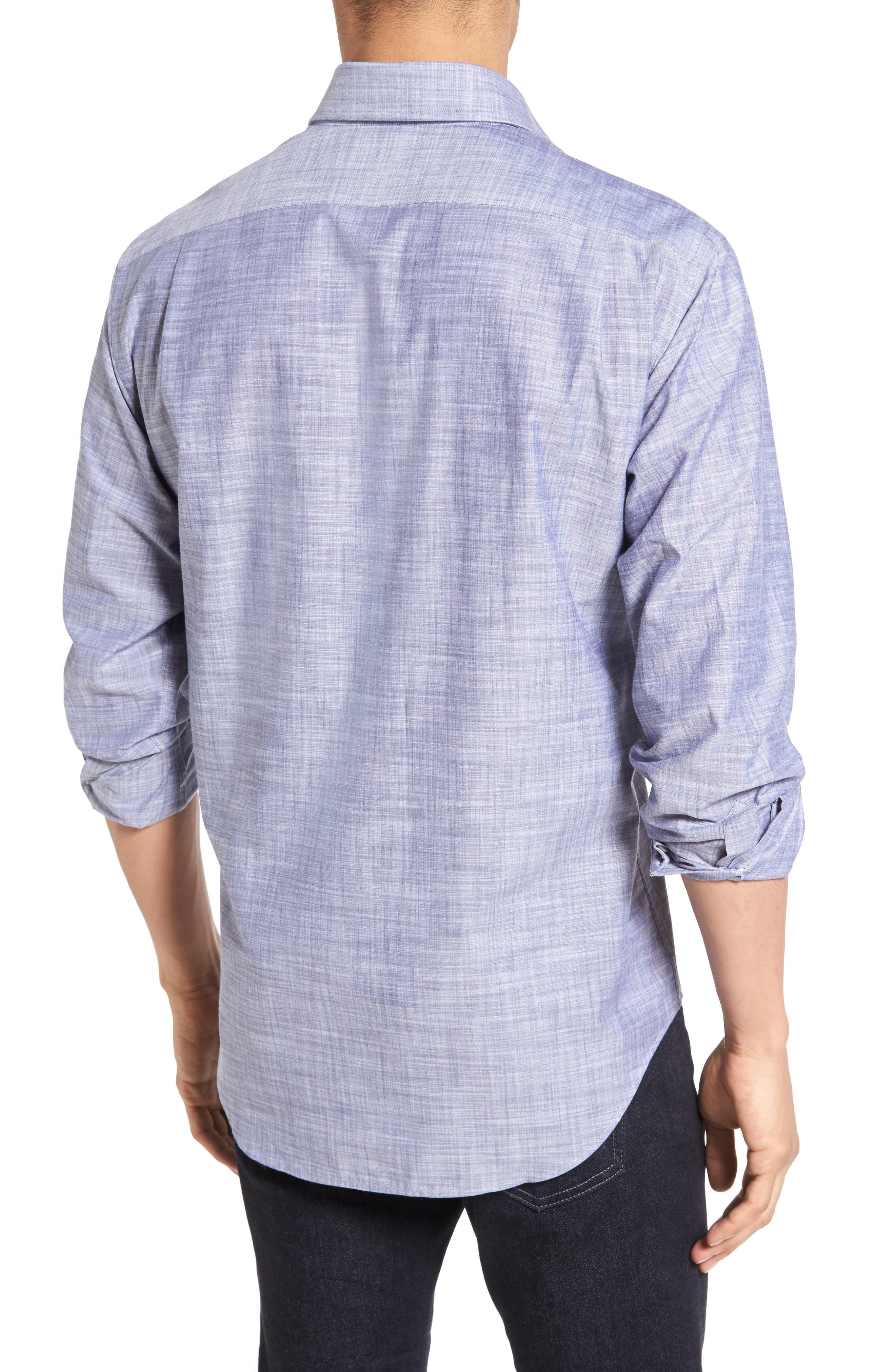 The McDaniel Classic Fit Chambray Sport Shirt,                             Alternate thumbnail 3, color,