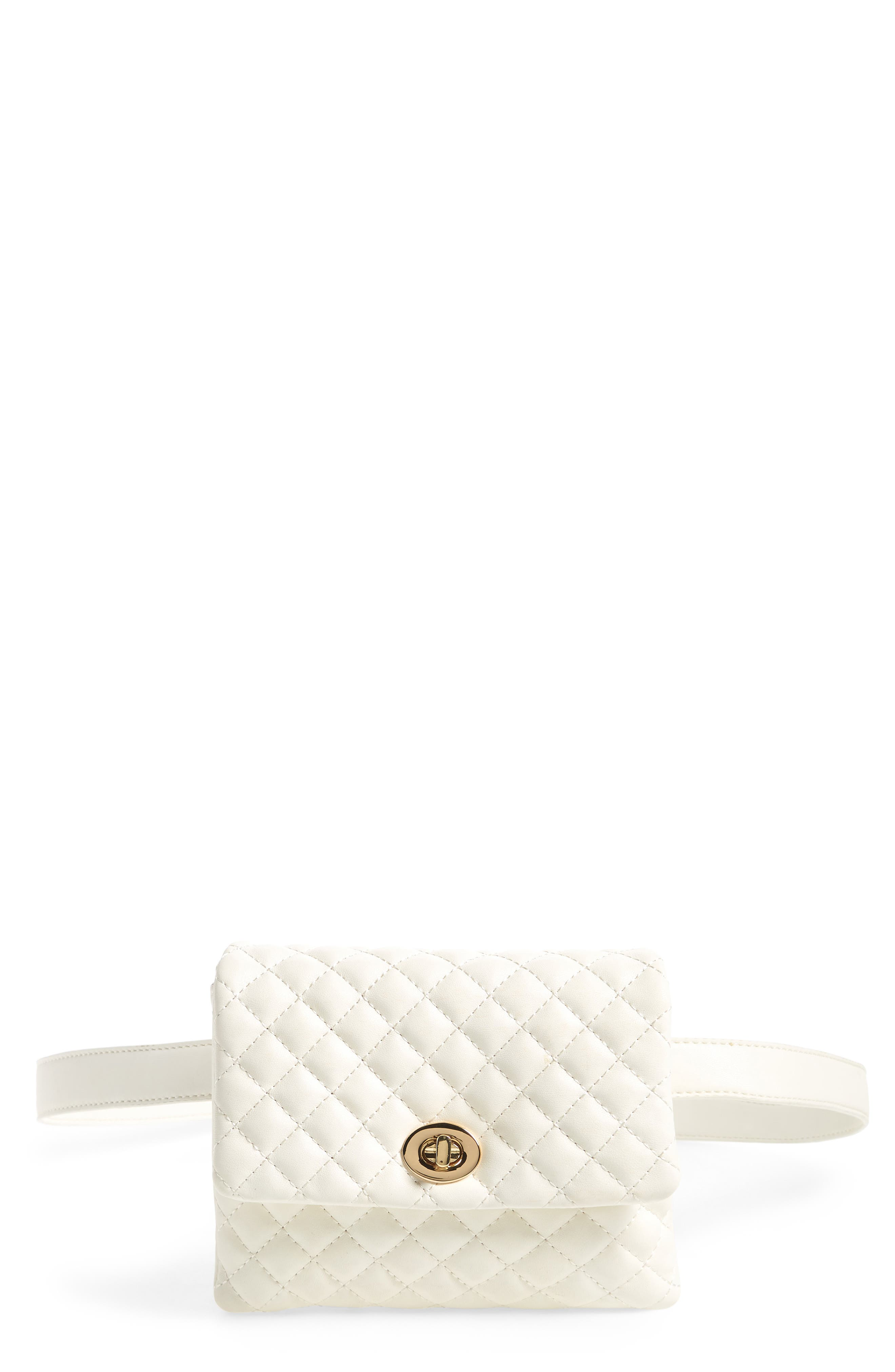 Mali + Lili Quilted Vegan Leather Convertible Belt Bag,                             Main thumbnail 1, color,                             WHITE