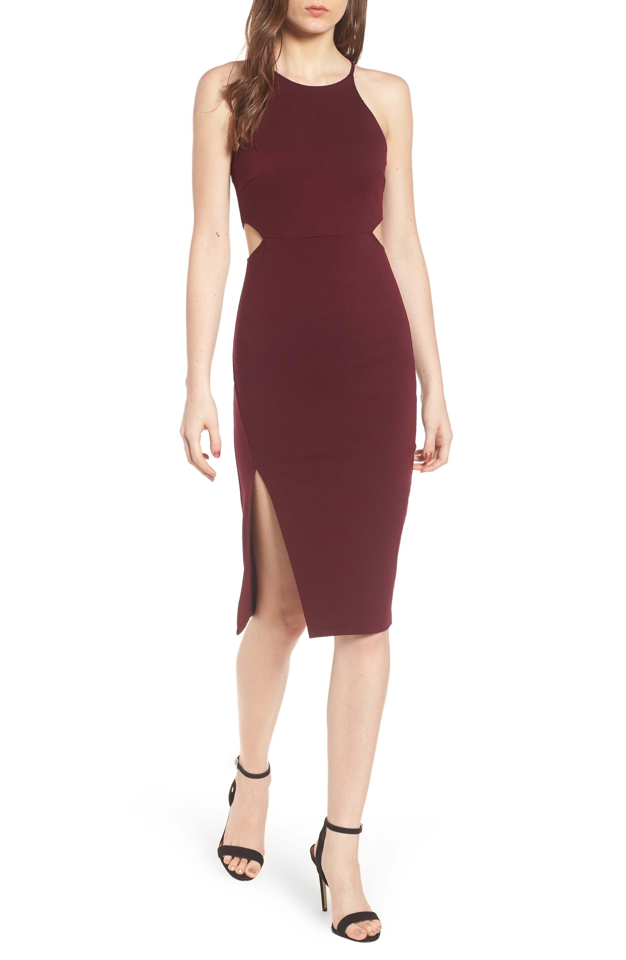 Side Cutout Body Con Dress,                             Main thumbnail 4, color,